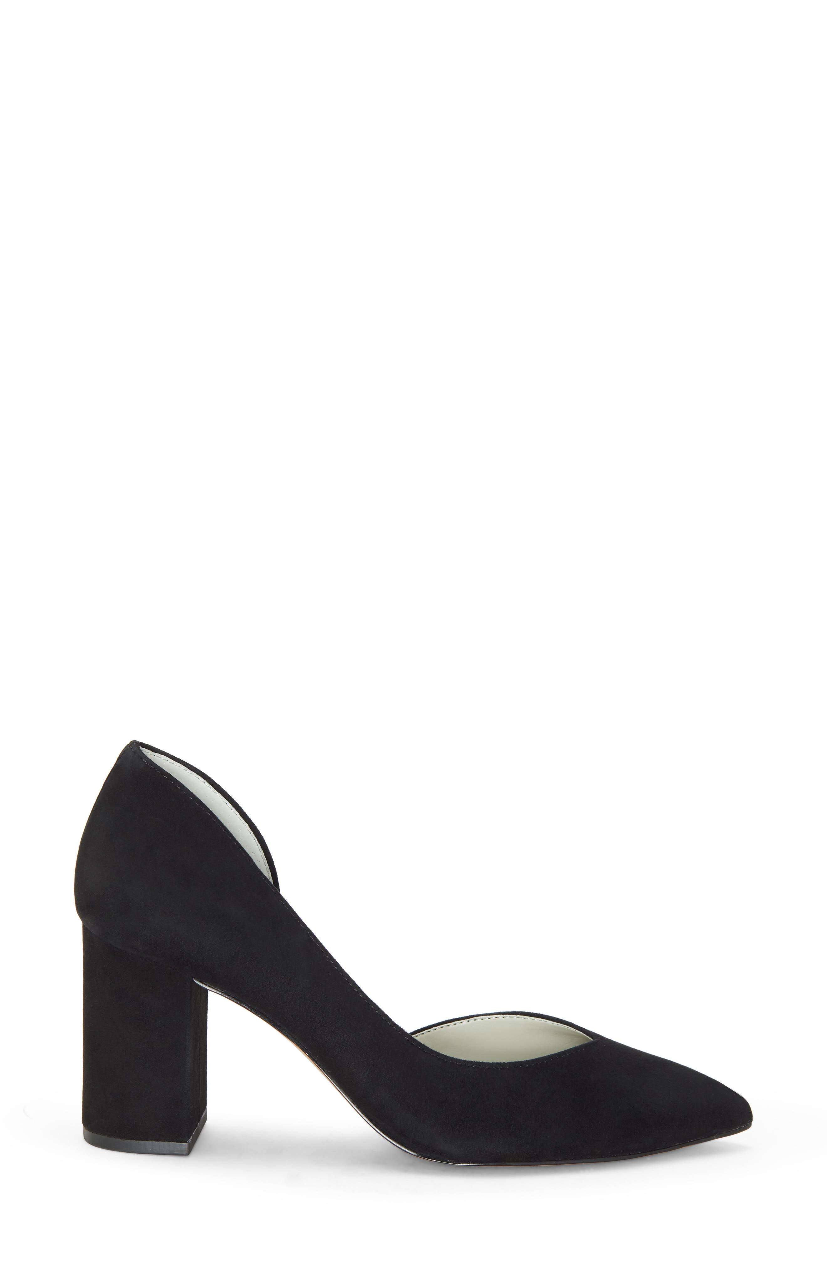 Sisteen Half d'Orsay Pump,                             Alternate thumbnail 3, color,                             BLACK SUEDE
