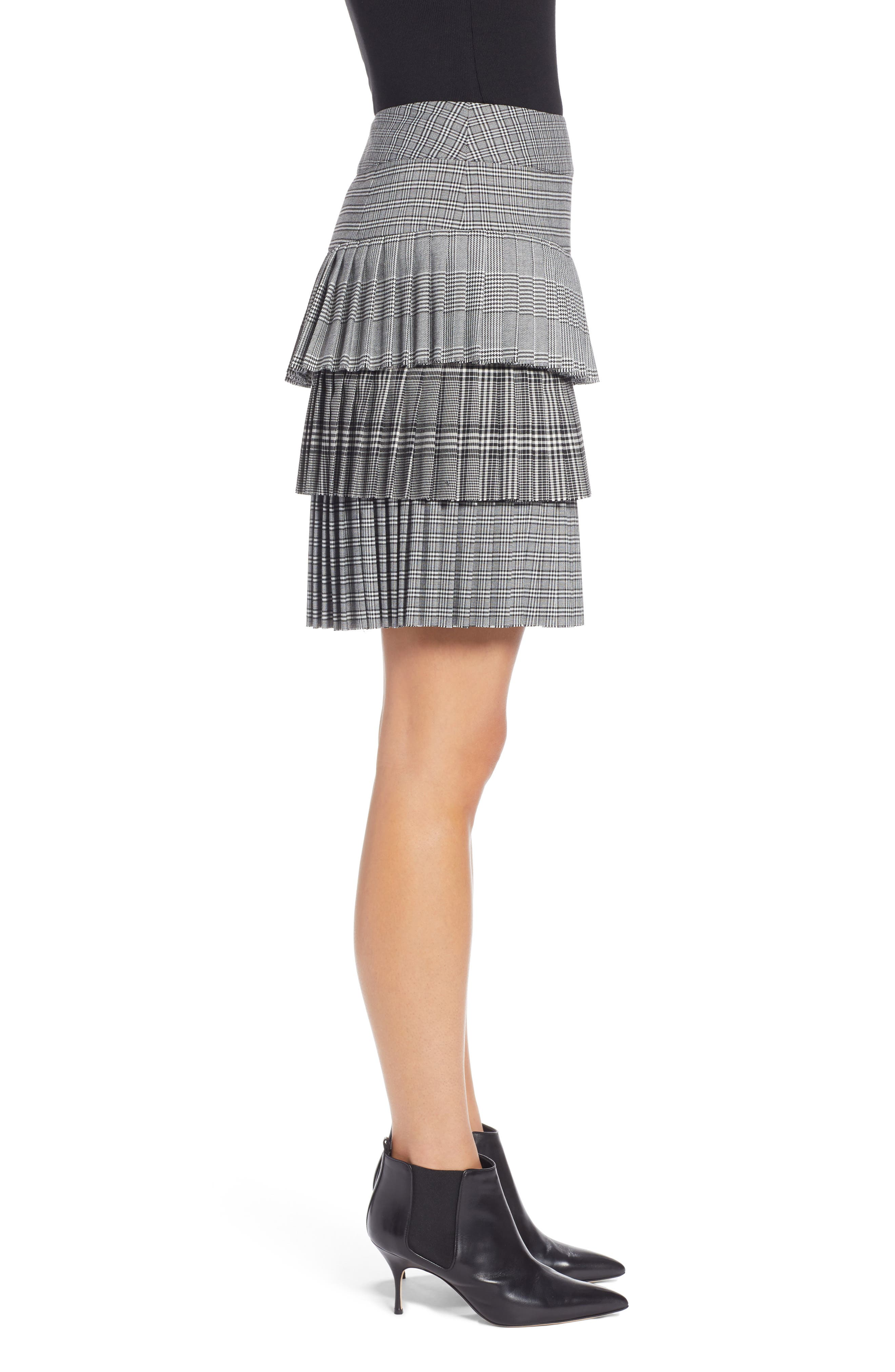 Layered Pleated Skirt,                             Alternate thumbnail 3, color,                             BLACK MIXED PLAID