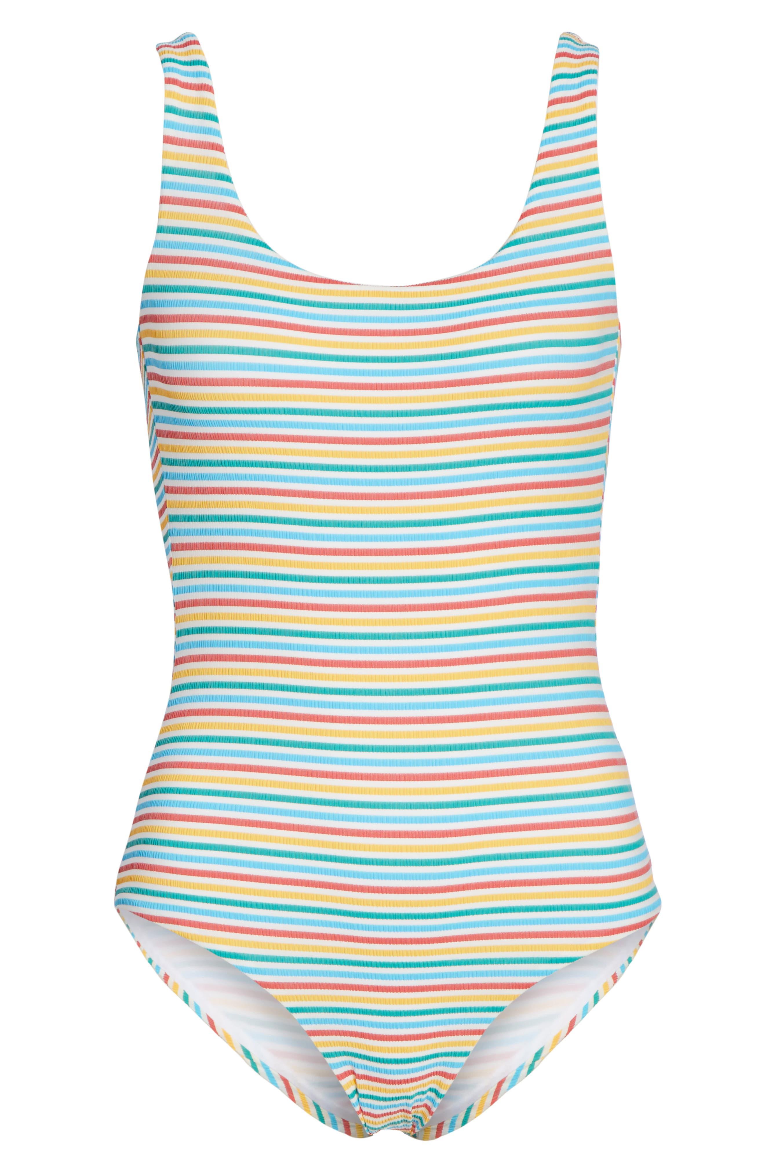 Stripe Low Back One-Piece Swimsuit,                             Alternate thumbnail 6, color,                             700