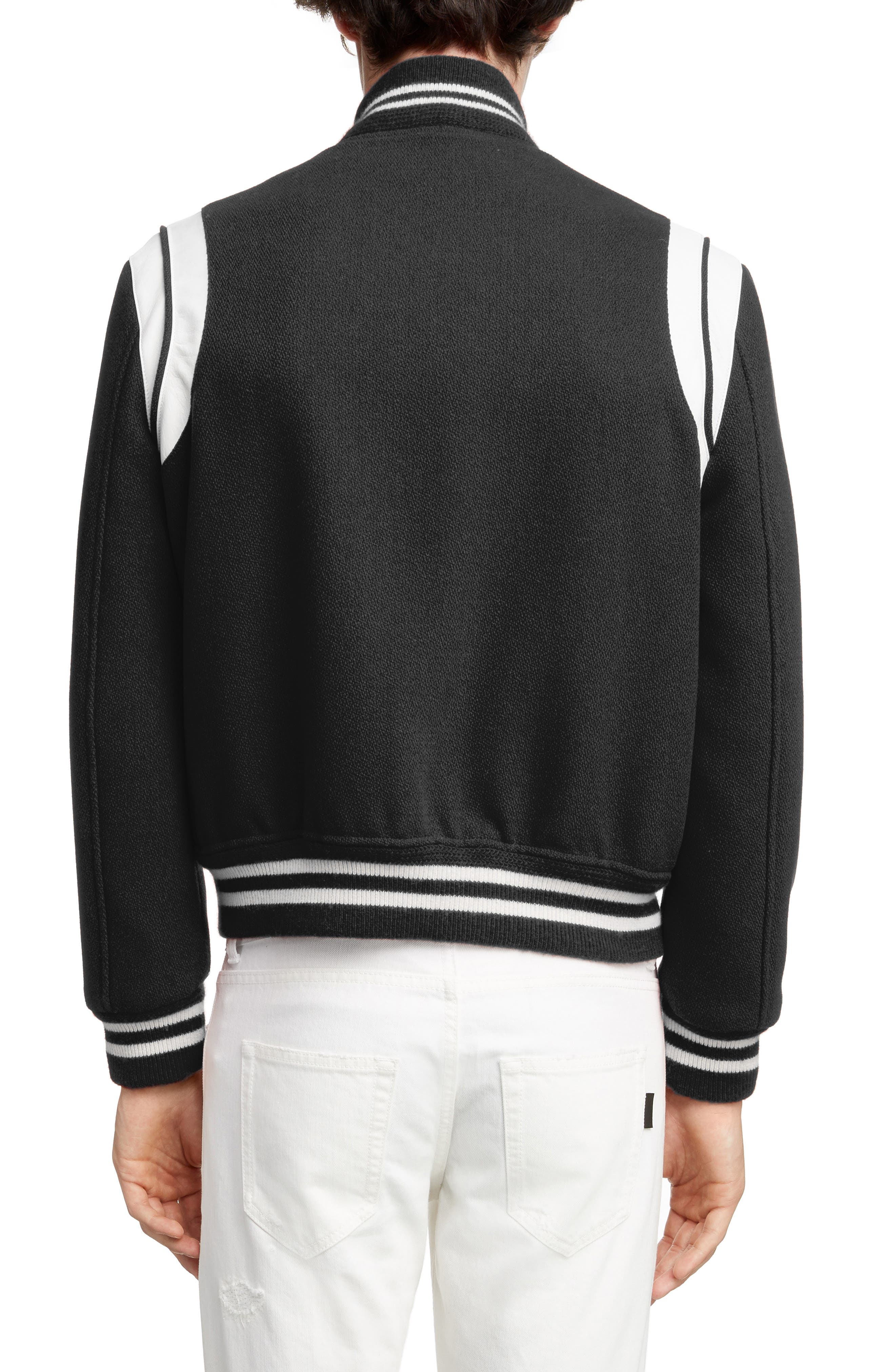 Teddy Wool Varsity Jacket,                             Alternate thumbnail 2, color,                             BLACK