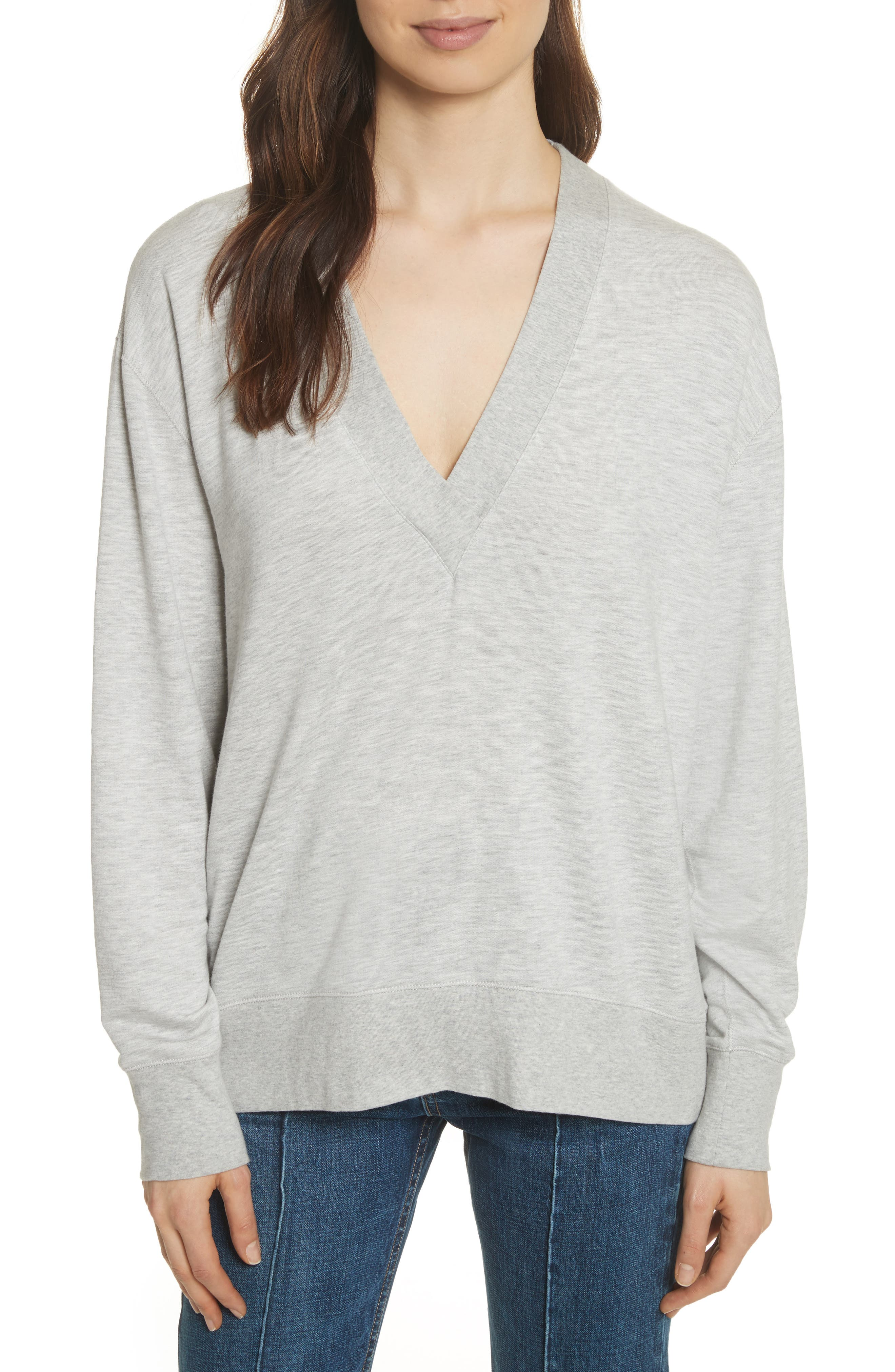 rag & bone Flora Sweatshirt,                         Main,                         color, HEATHER GREY