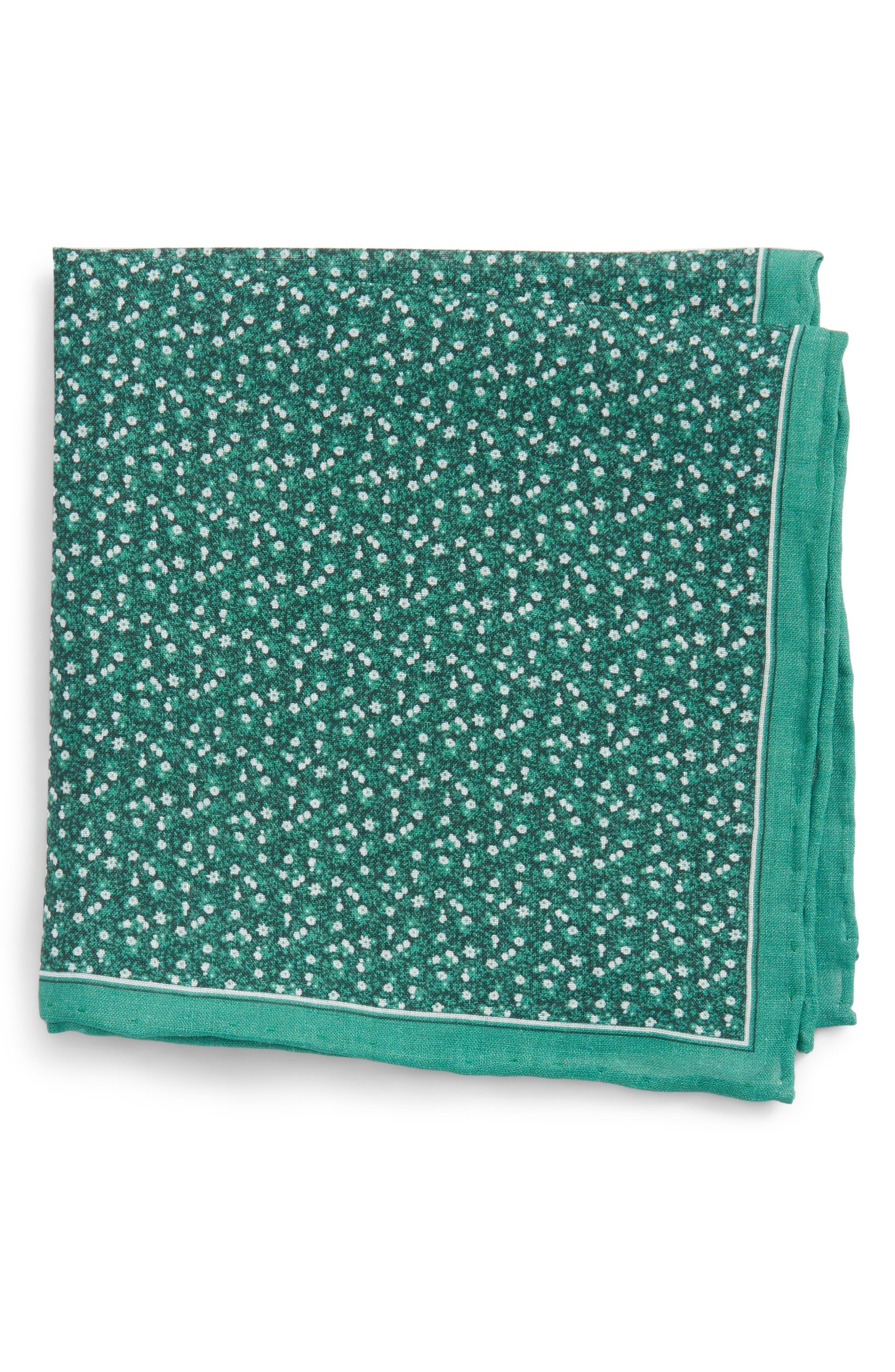 Floral Mark Linen Pocket Square,                             Main thumbnail 1, color,                             300