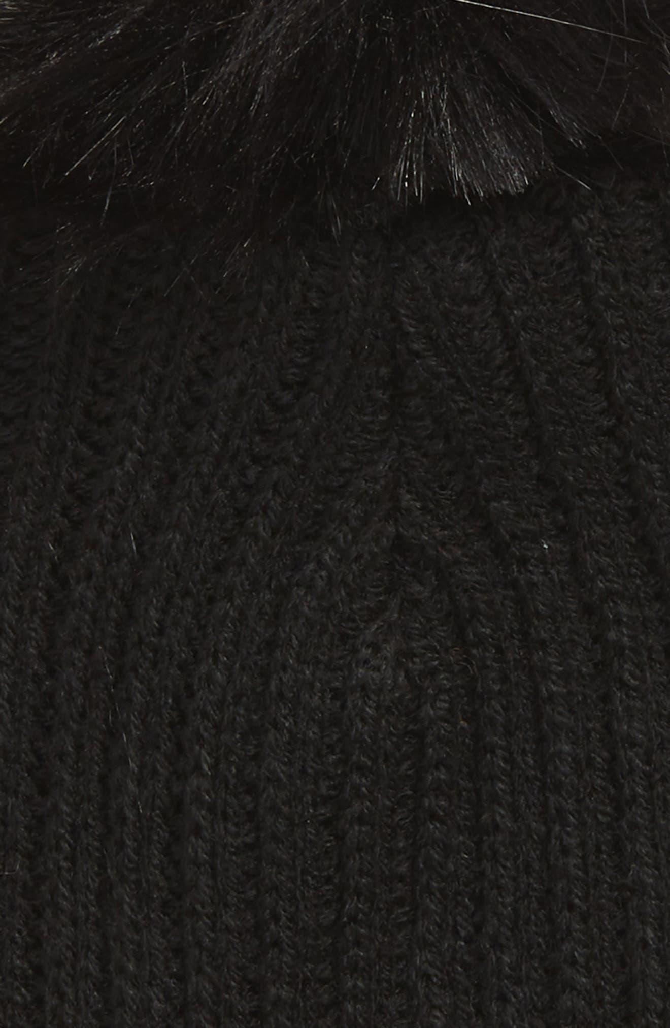 Alison Faux Fur Pom Beanie Hat,                             Alternate thumbnail 2, color,                             BLACK