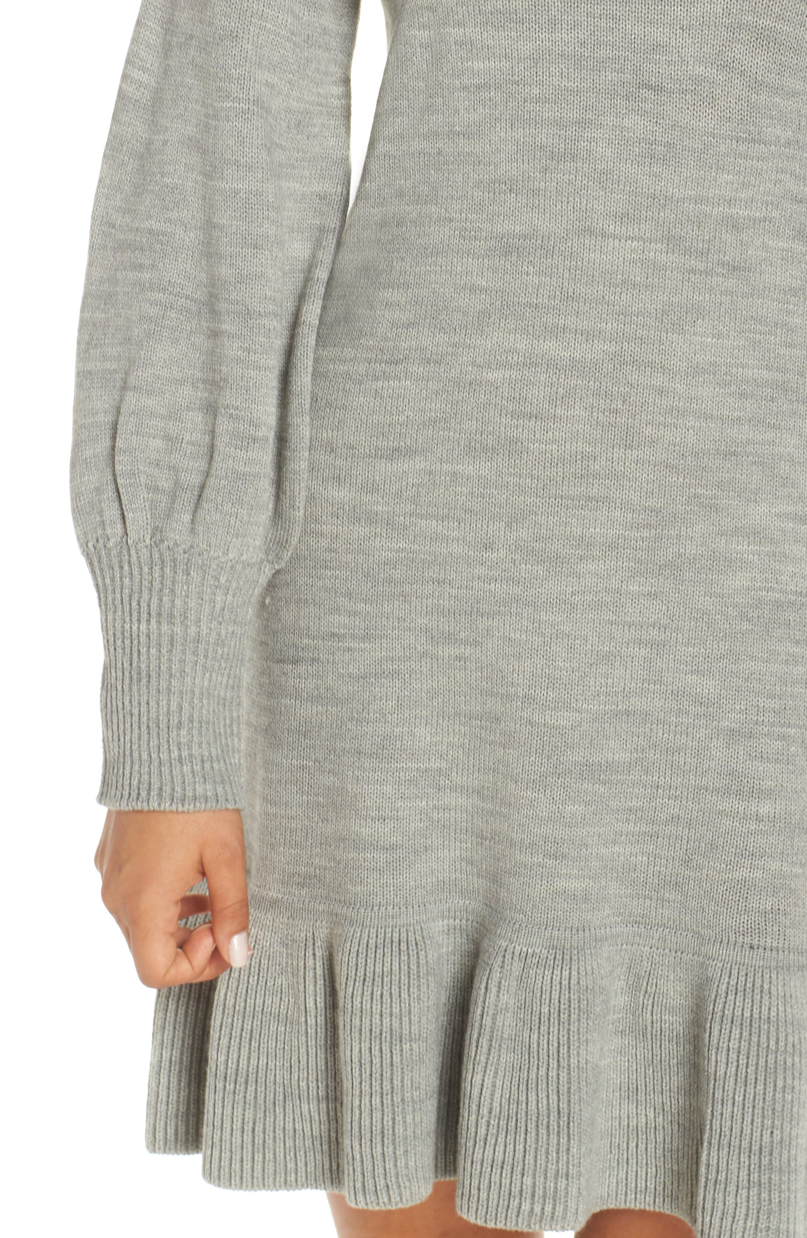 Balloon Sleeve Sweater Dress,                             Alternate thumbnail 4, color,                             GREY