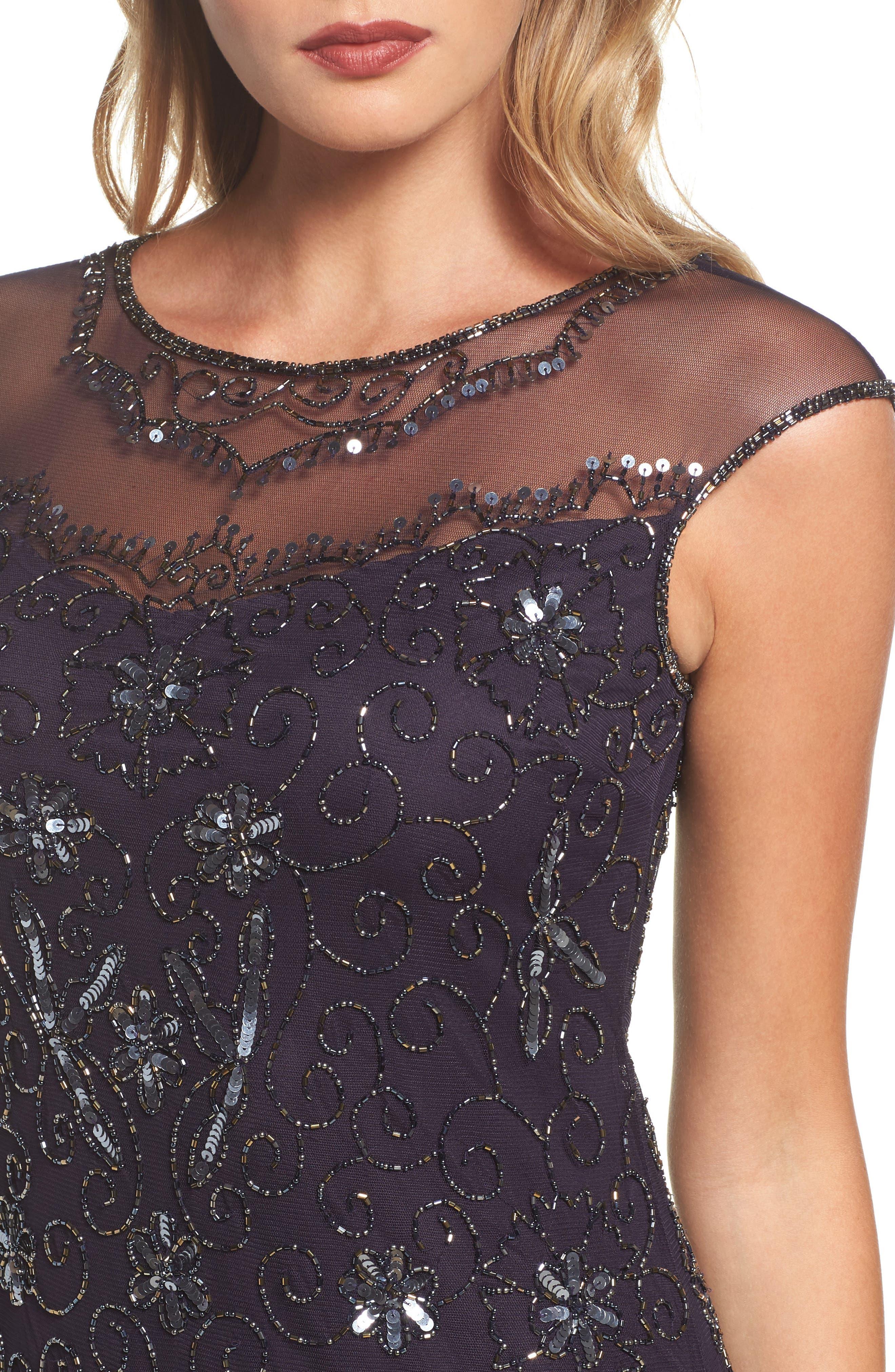 Embellished Midi Dress,                             Alternate thumbnail 4, color,                             503