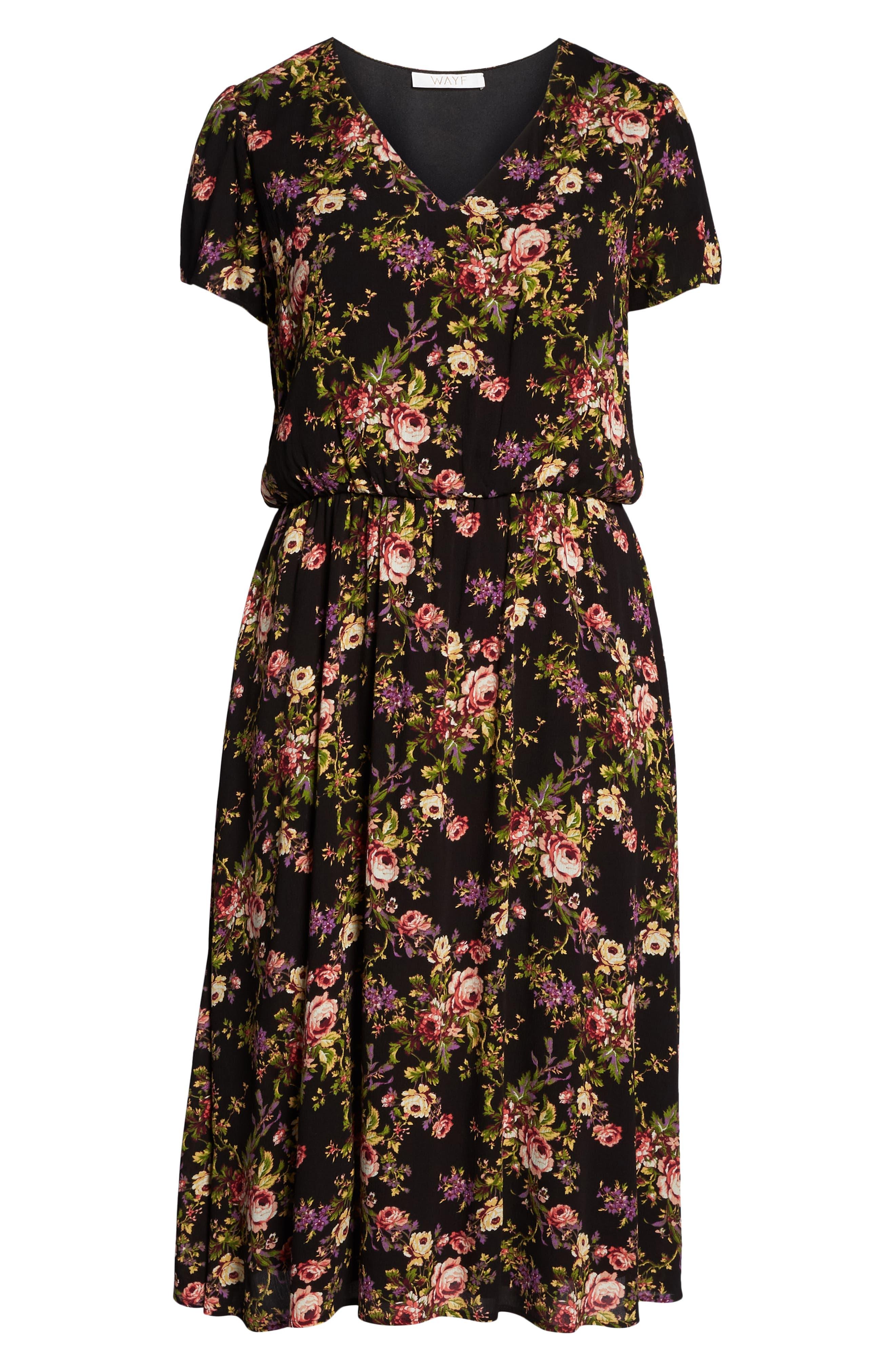 Blouson Midi Dress,                             Alternate thumbnail 7, color,                             BLACK TAPESTRY FLORAL