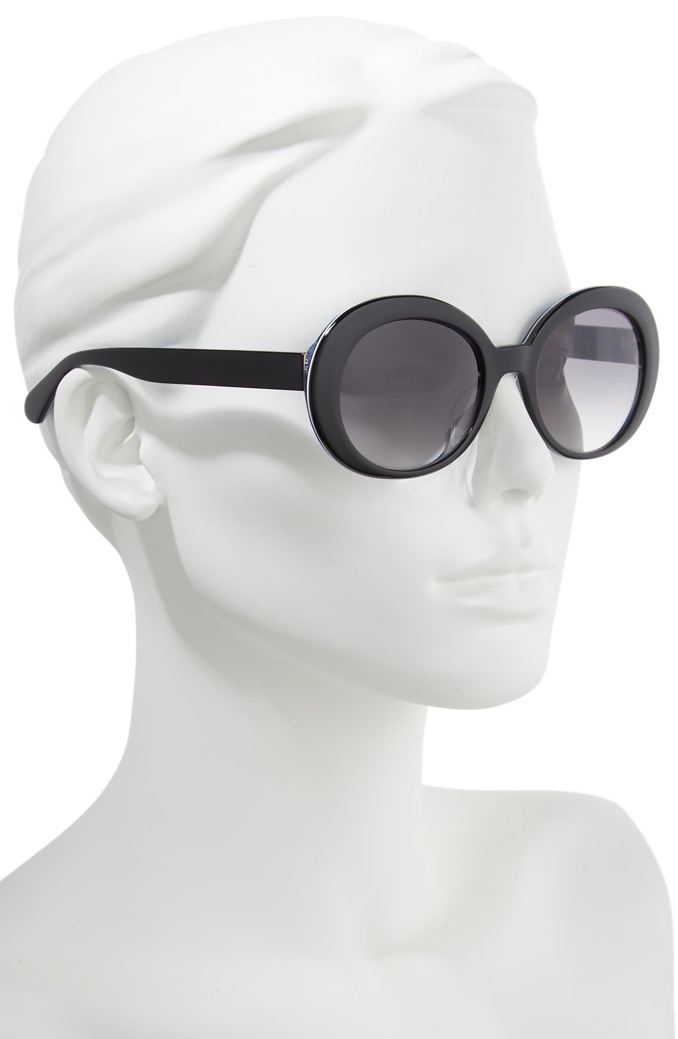 cindra 54mm gradient round sunglasses,                             Alternate thumbnail 2, color,                             BLACK