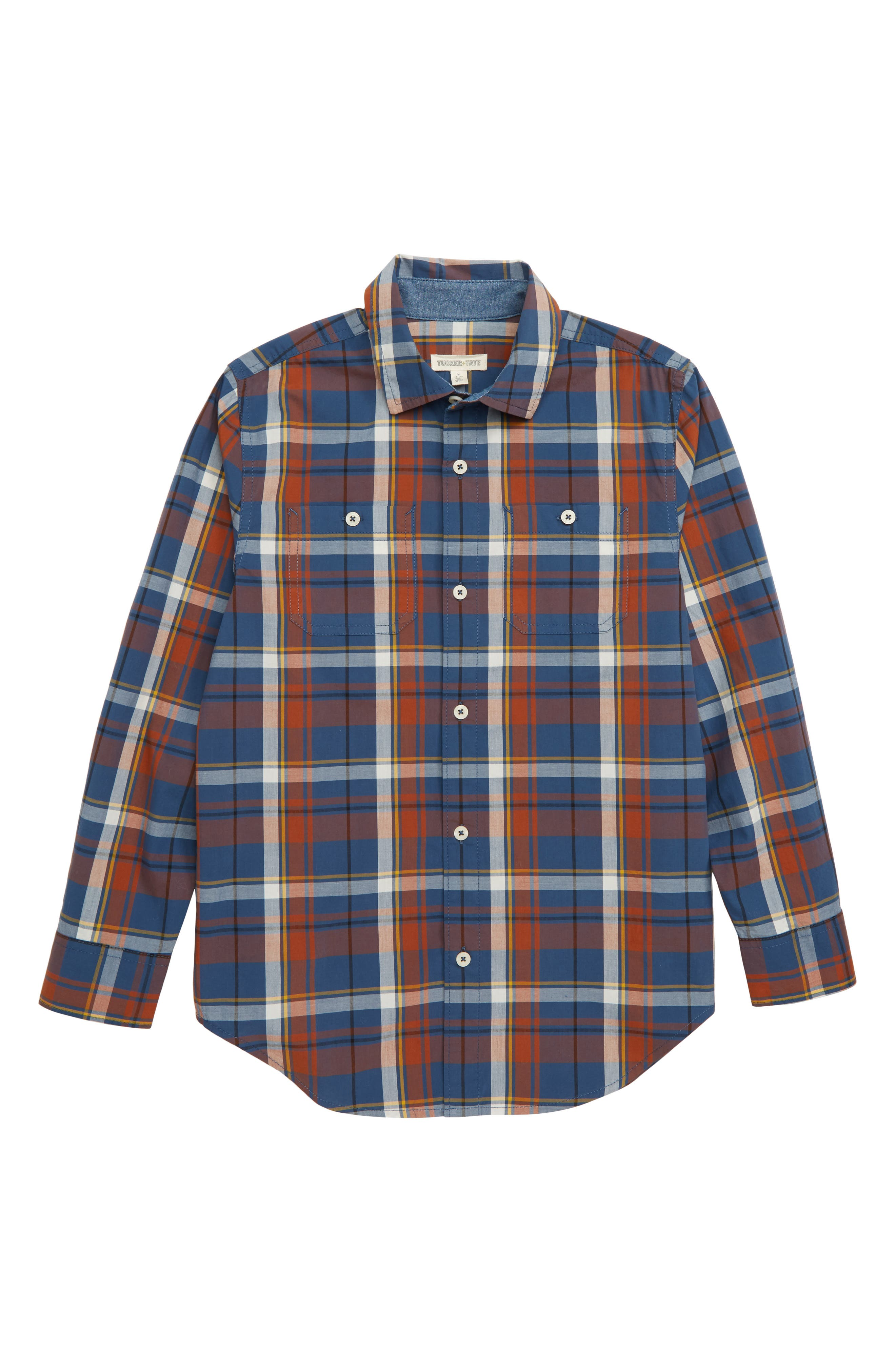 'Photo Op' Long Sleeve Cotton Woven Shirt,                         Main,                         color, NAVY DENIM MADRAS PLAID