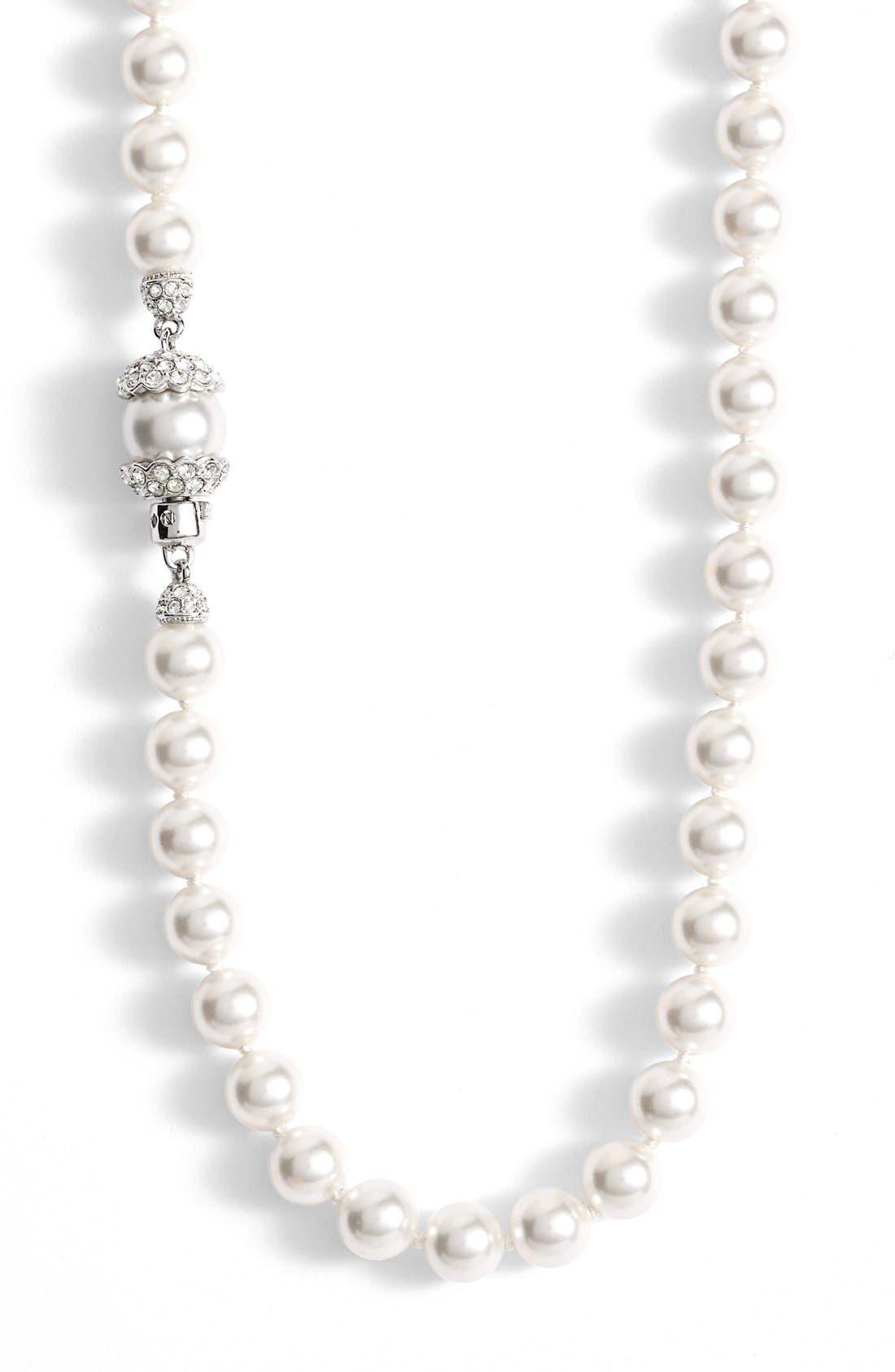 Imitation Pearl Long Necklace,                             Alternate thumbnail 2, color,                             RHODIUM