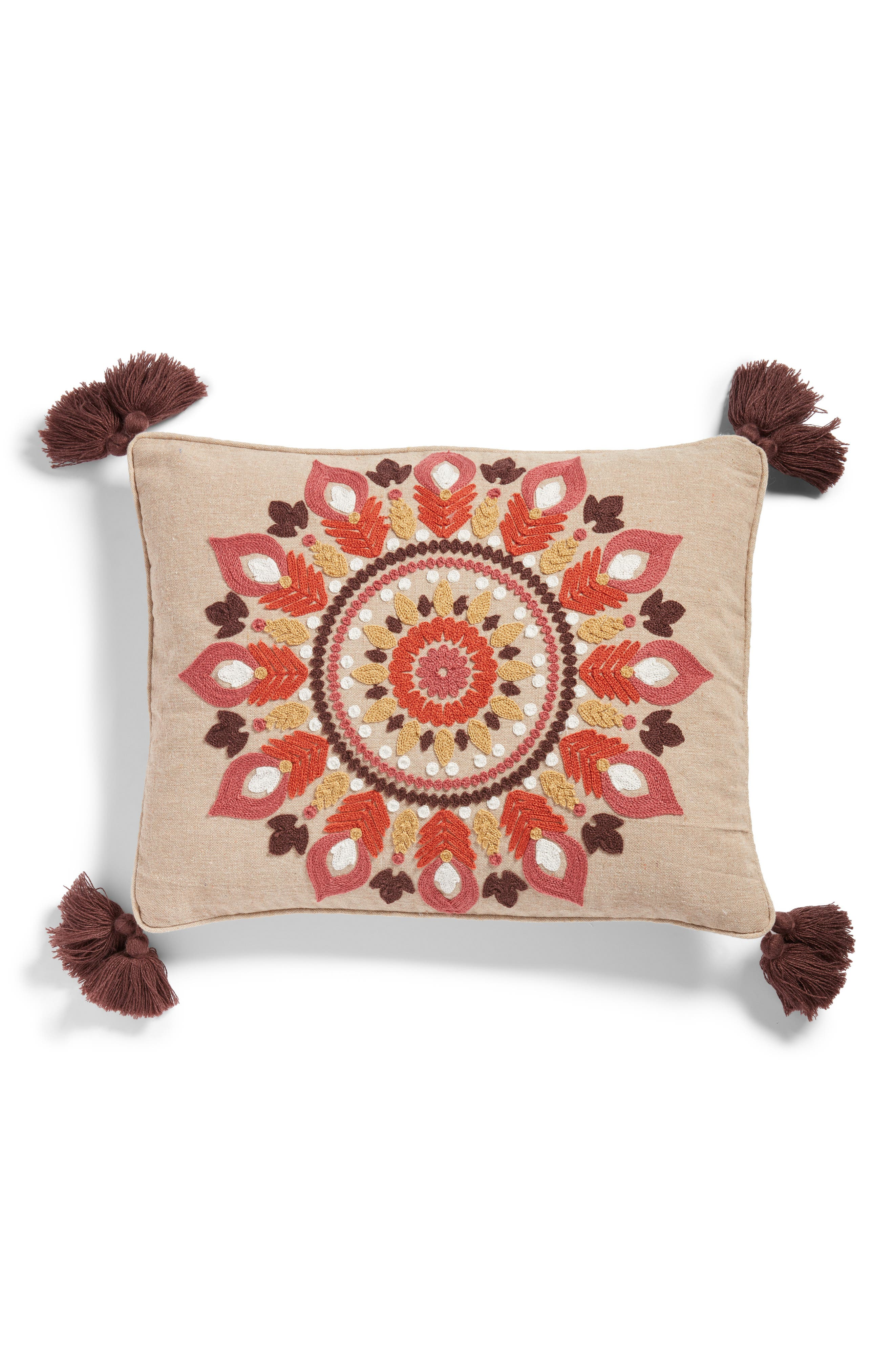 LEVTEX Amata Medallion Tassel Accent Pillow, Main, color, TAUPE