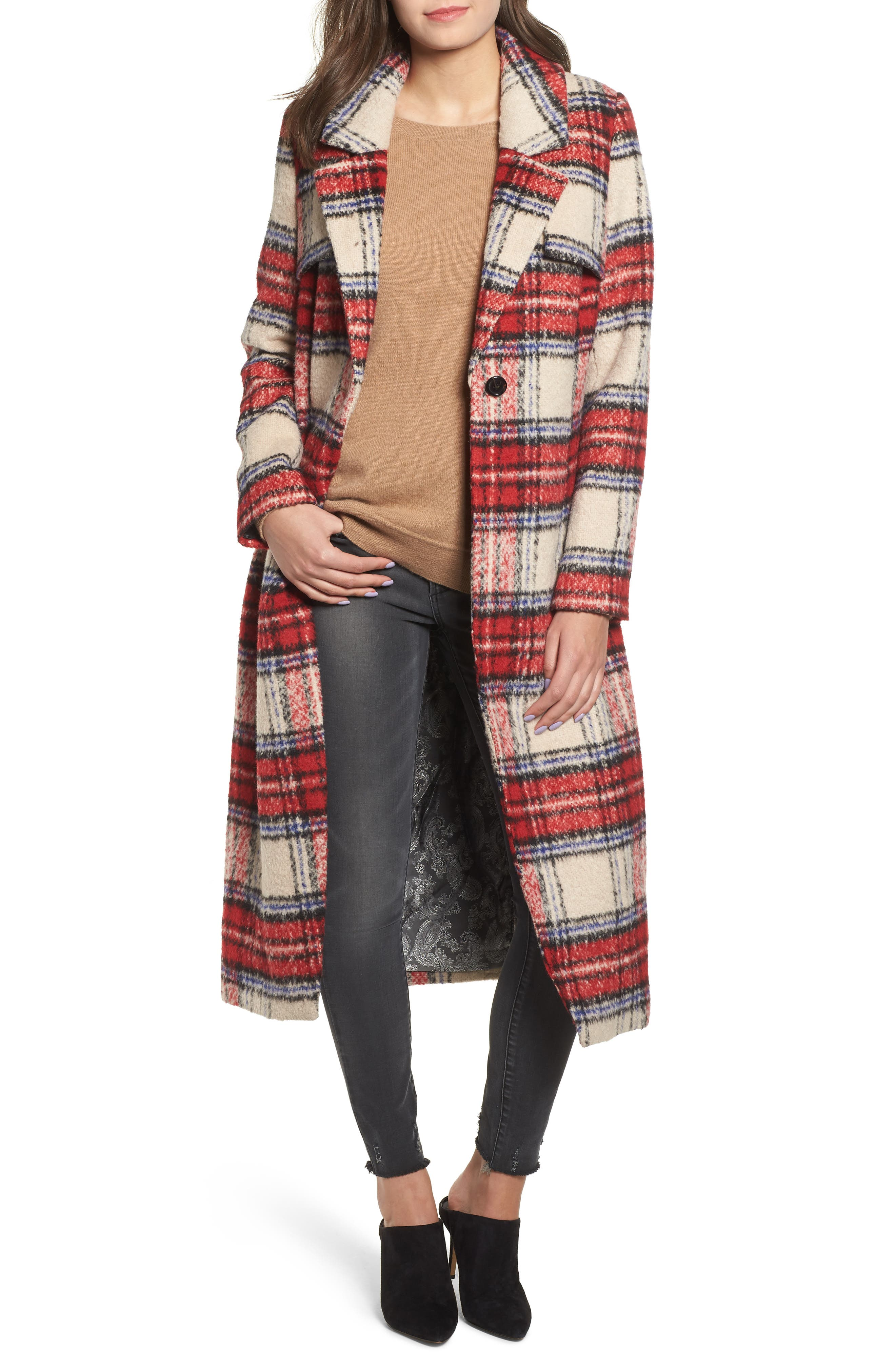 History of 1920s Coats, Furs and Capes Womens Nvlt Plaid Long Coat $99.90 AT vintagedancer.com