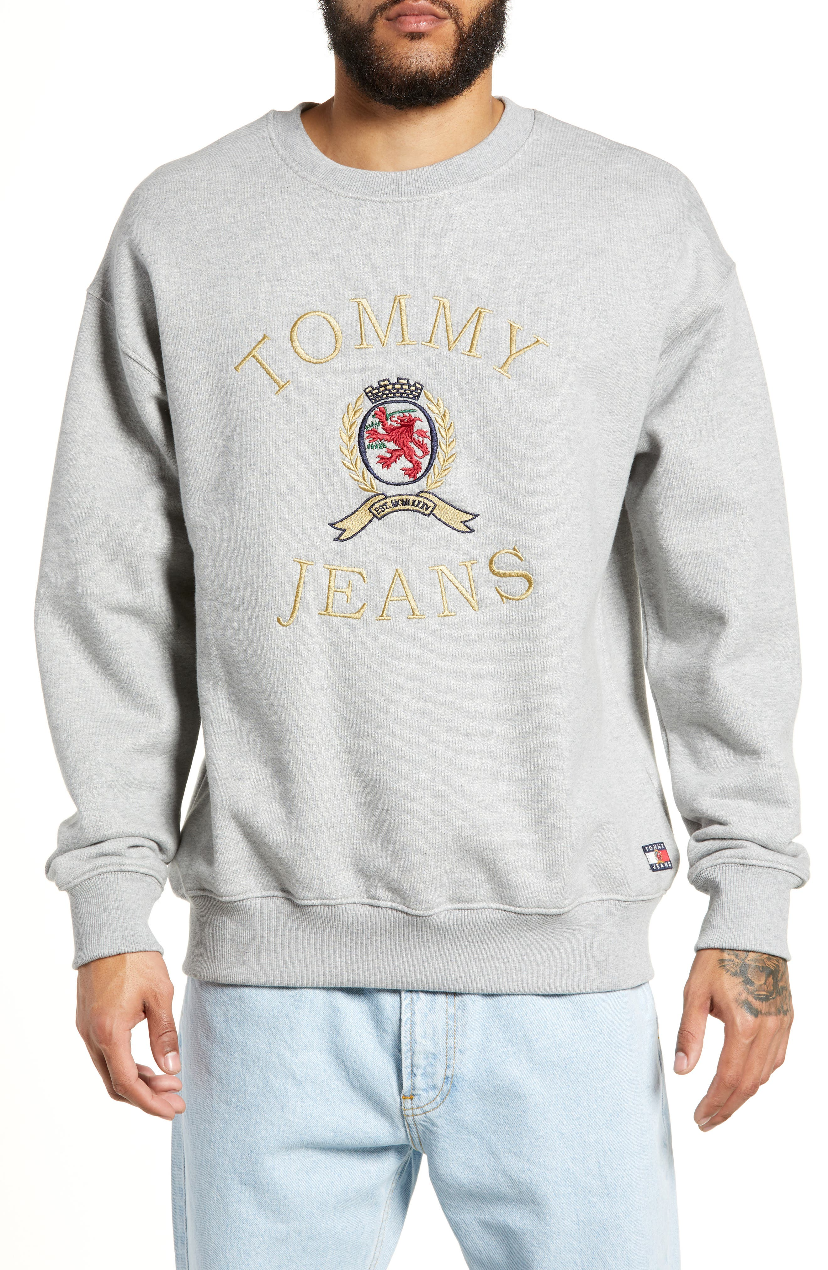 Embroidered Crest Sweatshirt,                             Main thumbnail 1, color,                             GREY HTR