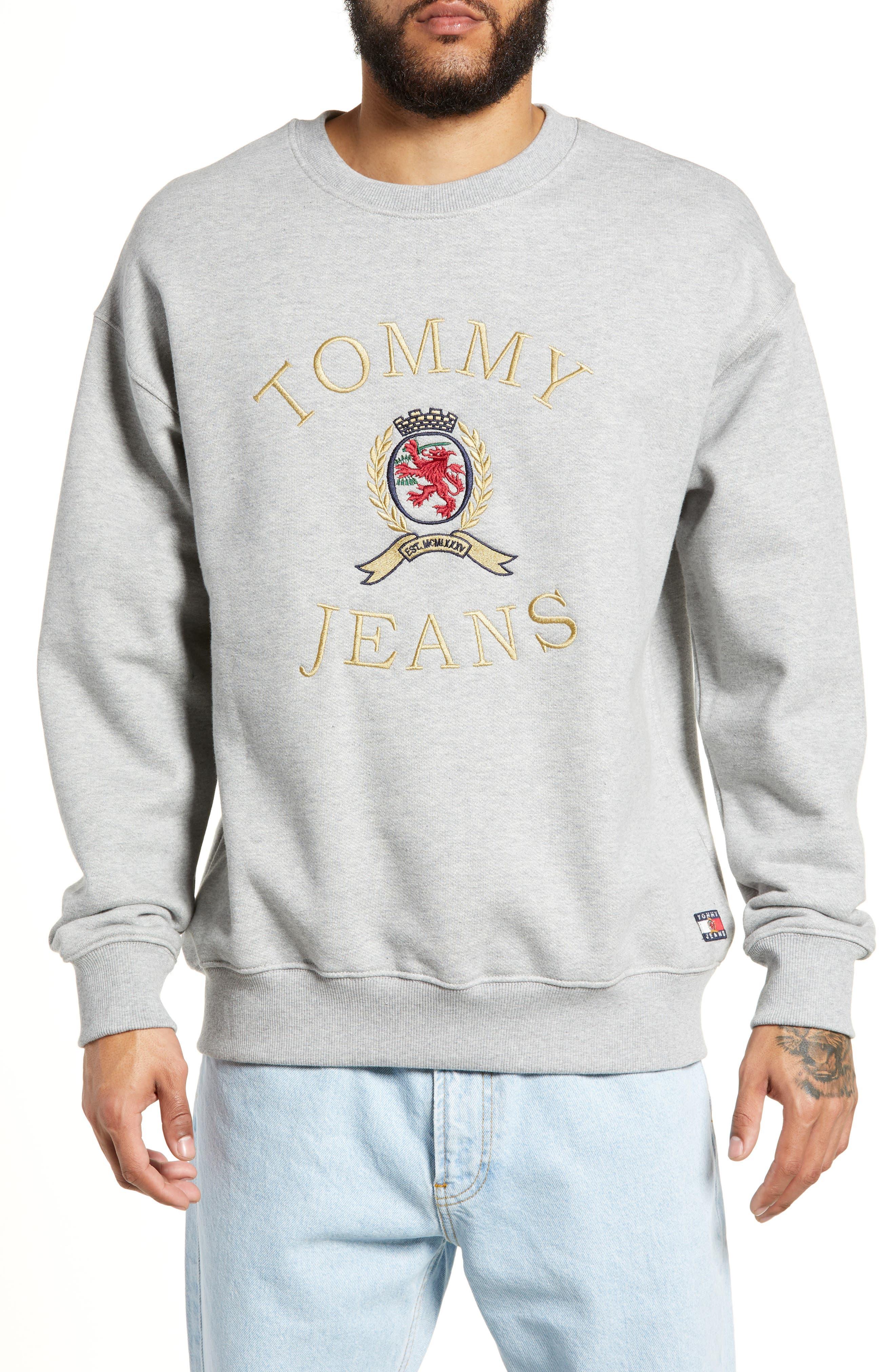 Embroidered Crest Sweatshirt,                         Main,                         color, GREY HTR