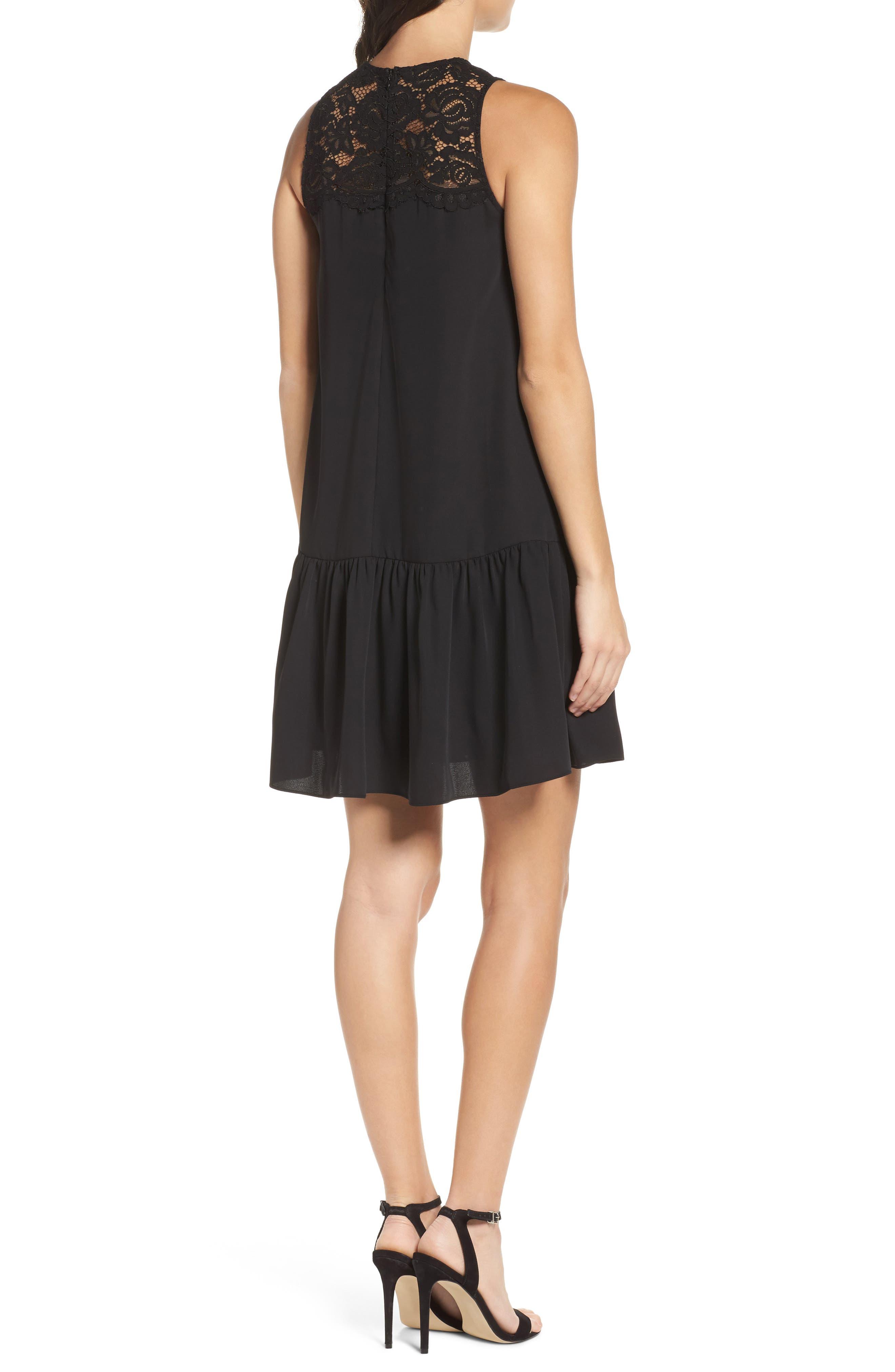 Lace & Crepe Shift Dress,                             Alternate thumbnail 3, color,