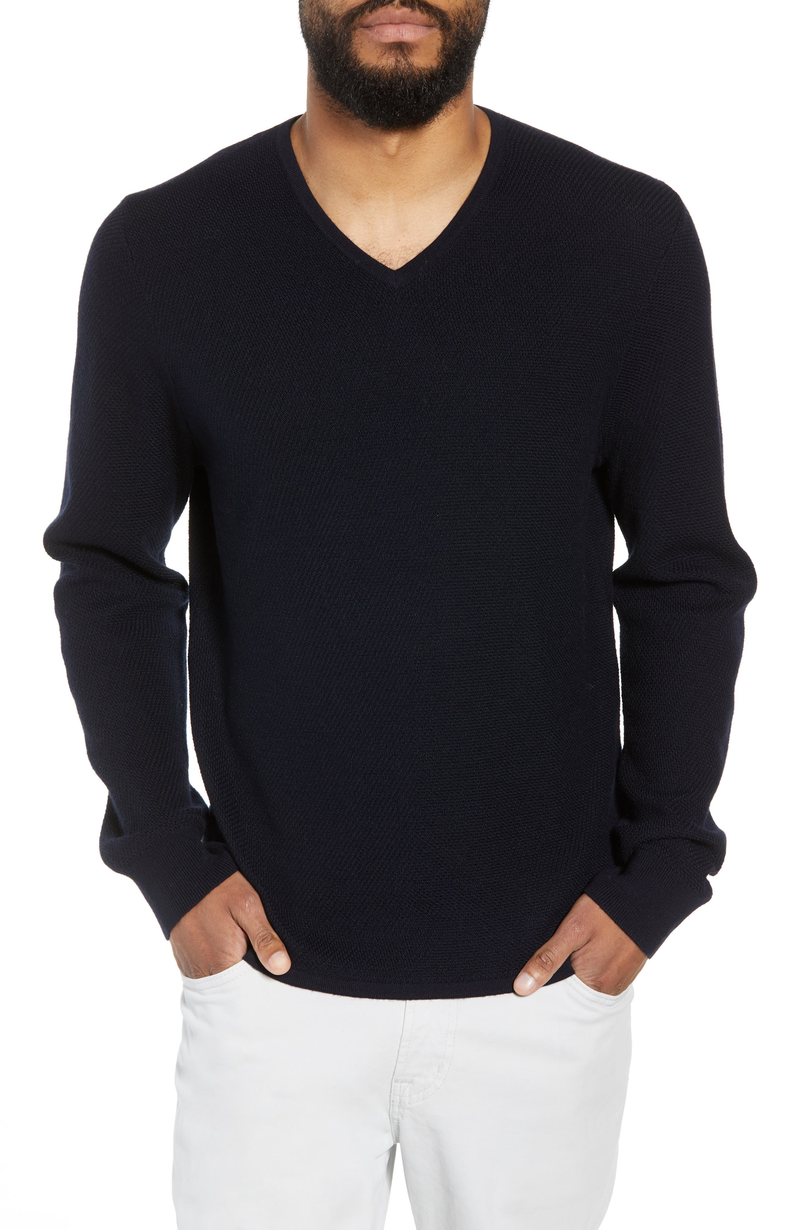Calibrate V-Neck Wool Blend Sweater, Blue