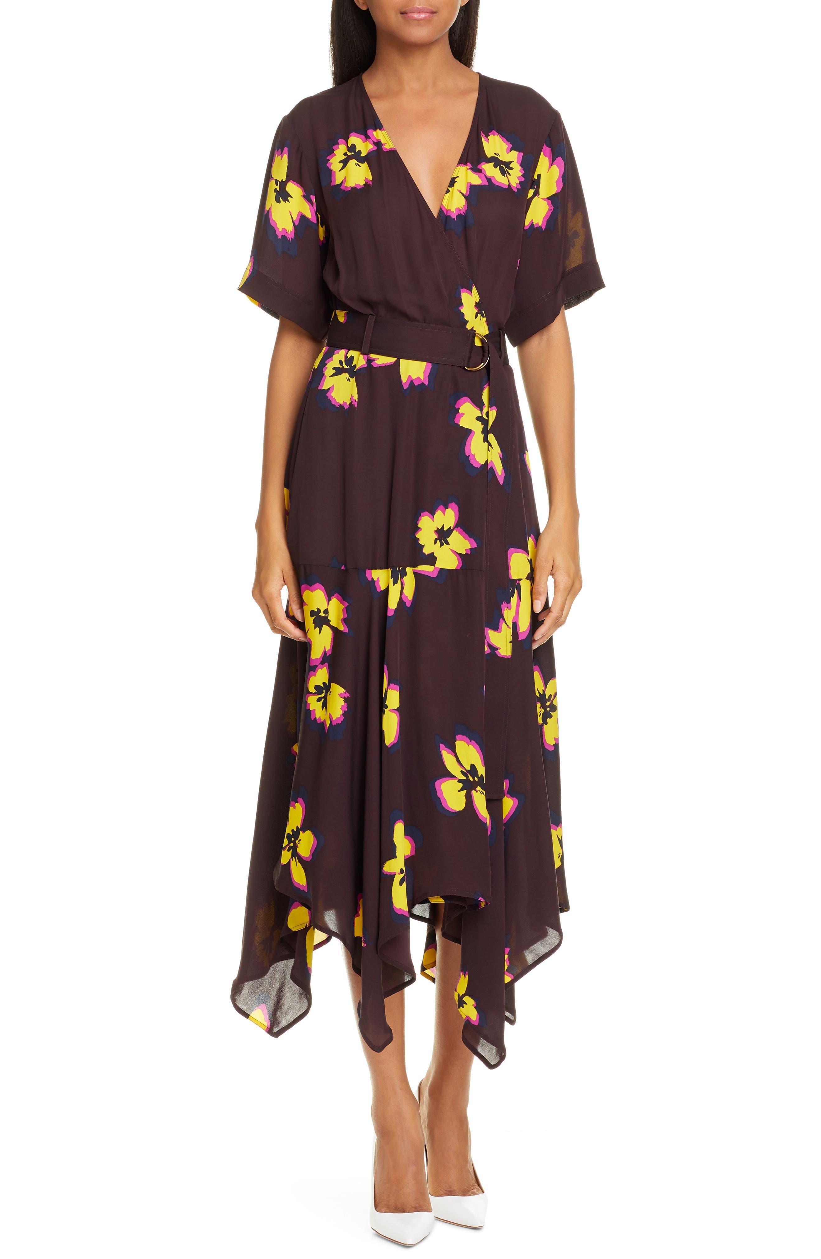 A.l.c. Claire Floral Print Midi Wrap Dress, Brown