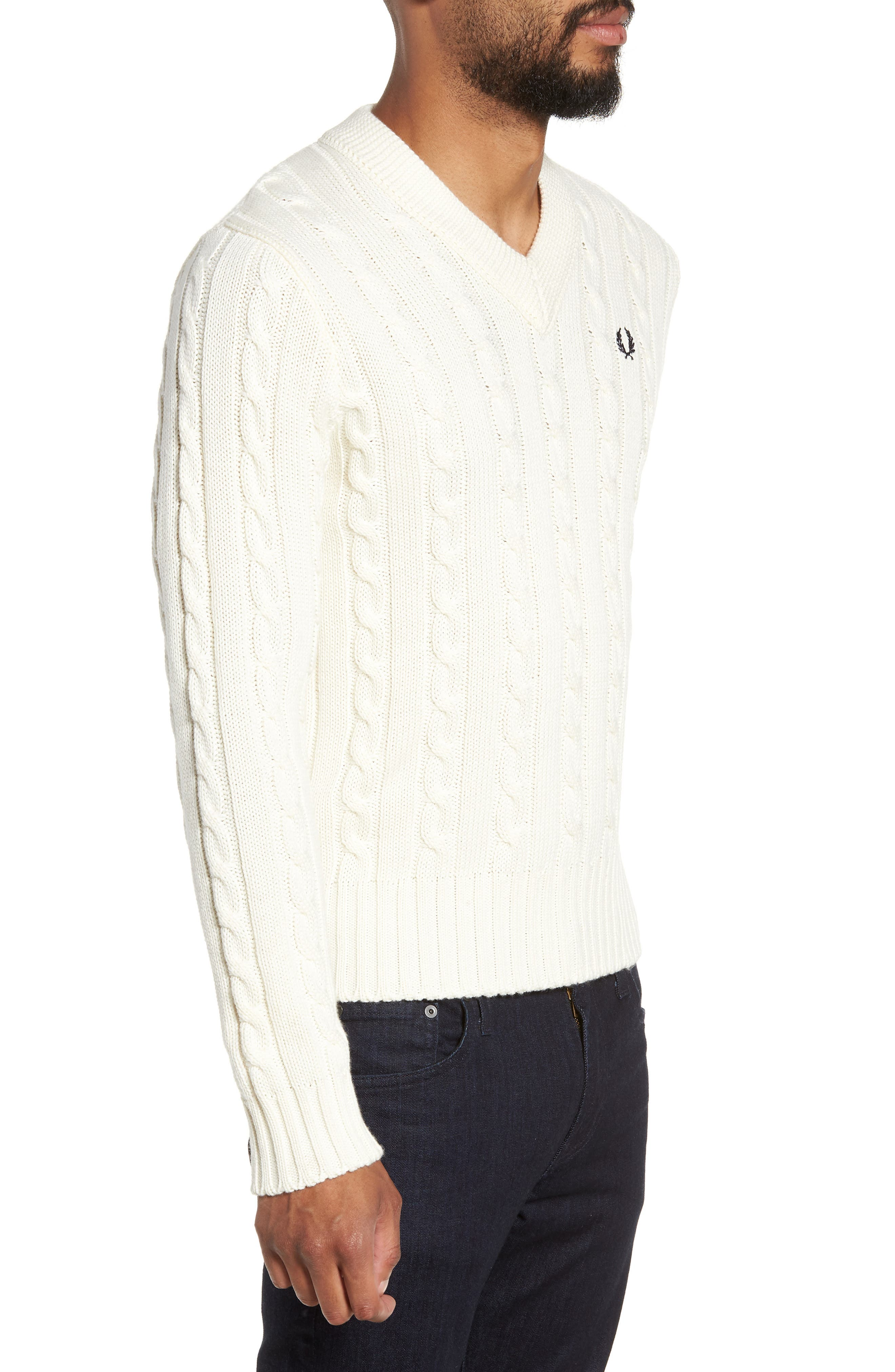 Wool Blend Cable Knit Sweater,                             Alternate thumbnail 3, color,                             ECRU