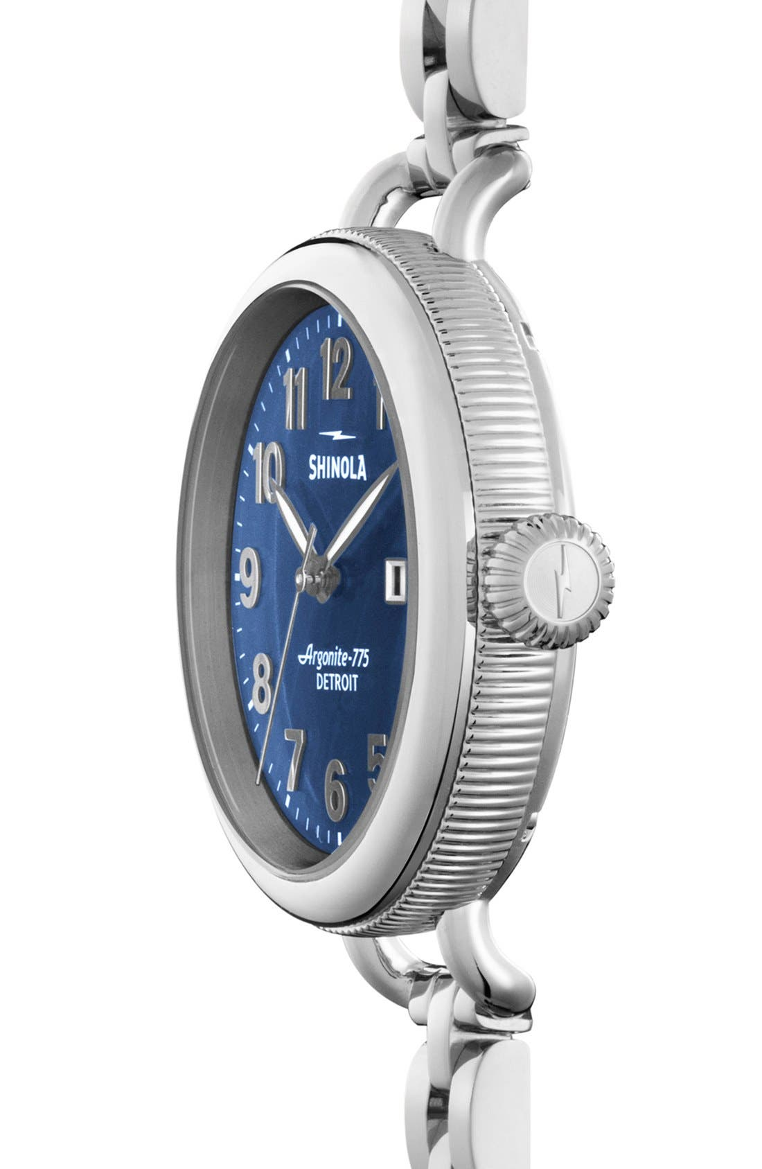SHINOLA,                             'The Birdy' Bracelet Watch, 34mm,                             Alternate thumbnail 3, color,                             SILVER/ NAVY MOTHER OF PEARL