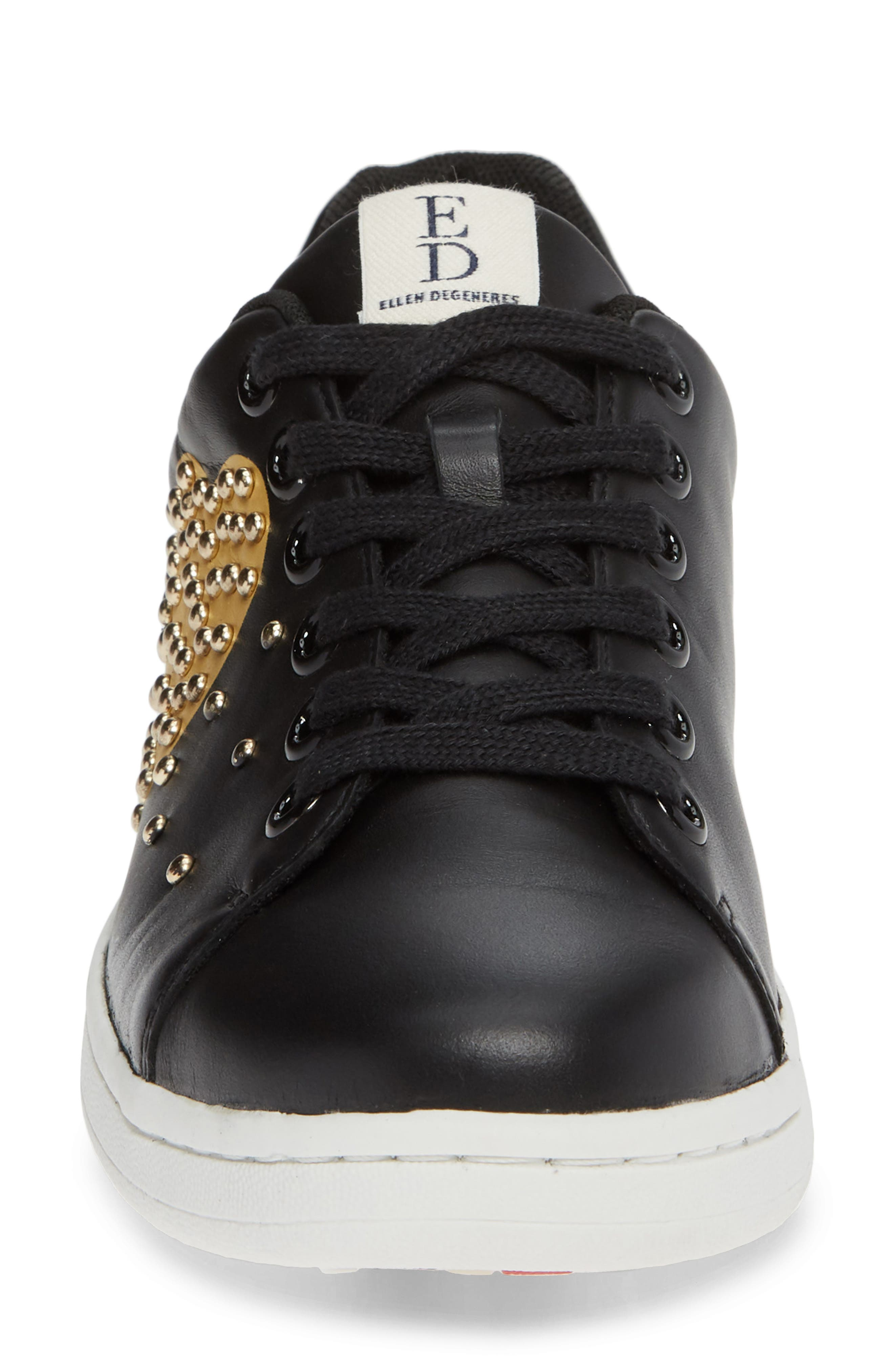 Chamour Sneaker,                             Alternate thumbnail 4, color,                             BLACK/ GOLD LEATHER