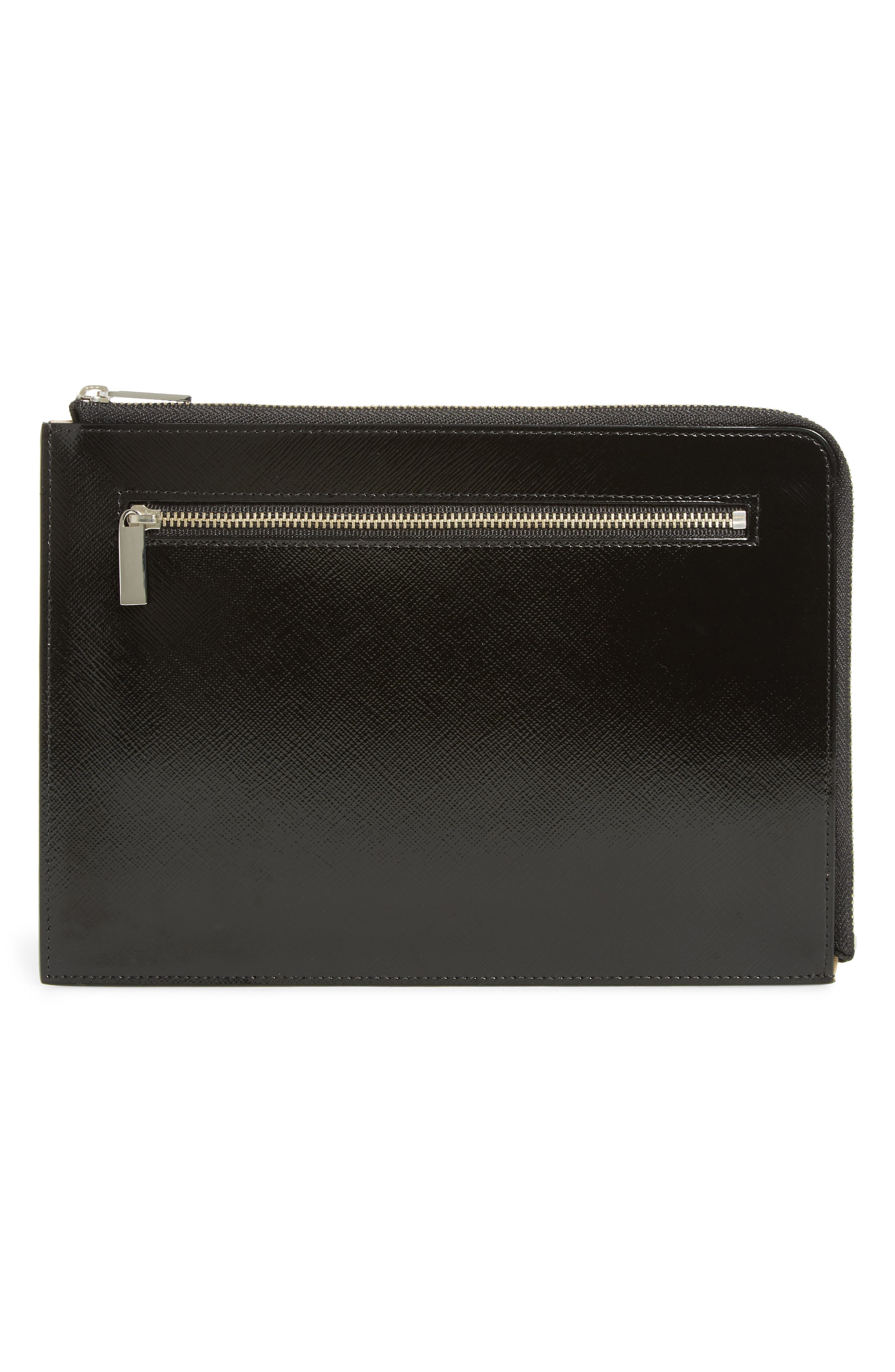 Leather Zip Pouch,                         Main,                         color, 001