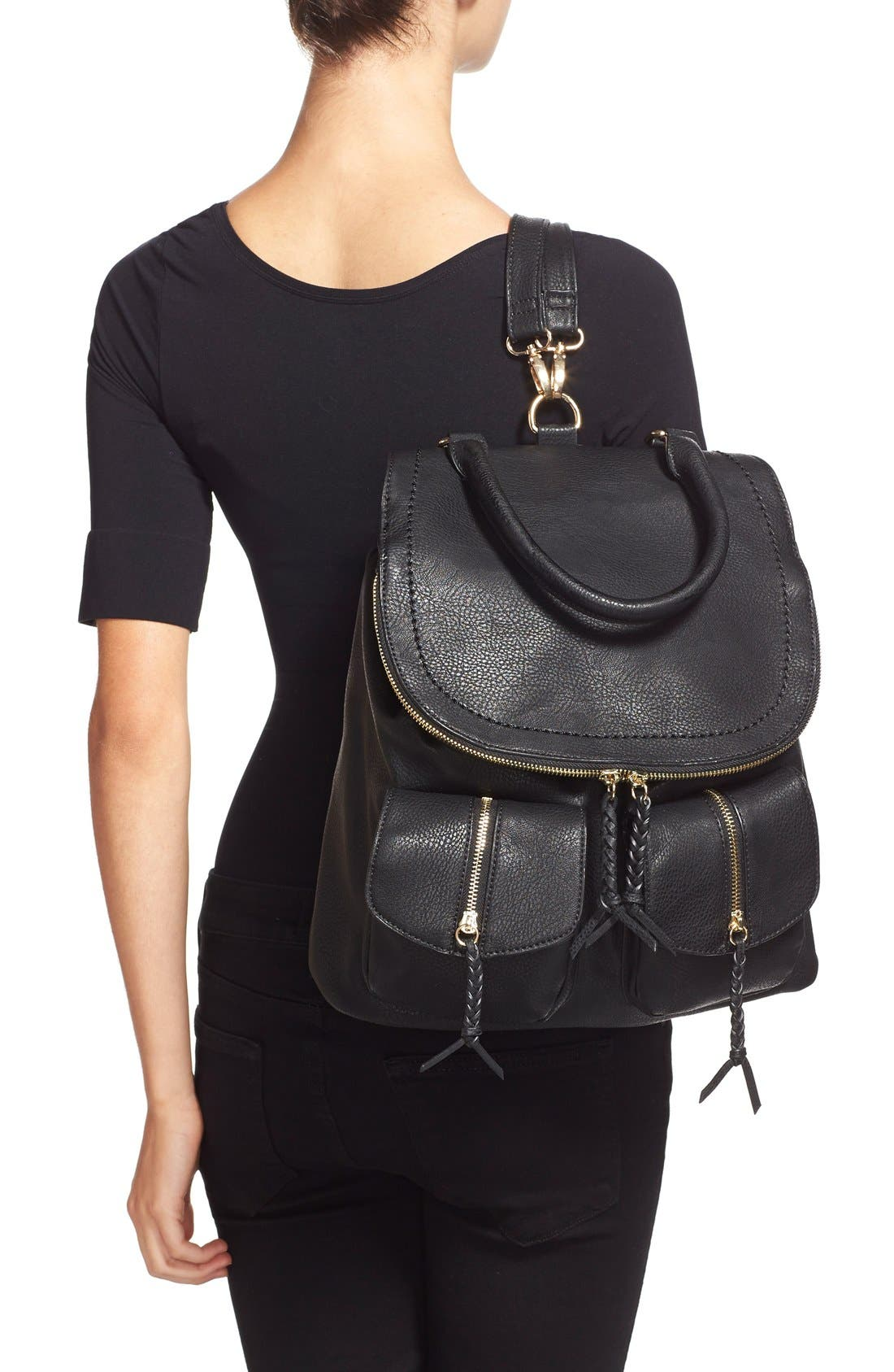 Emery Faux Leather Backpack,                             Alternate thumbnail 2, color,                             BLACK