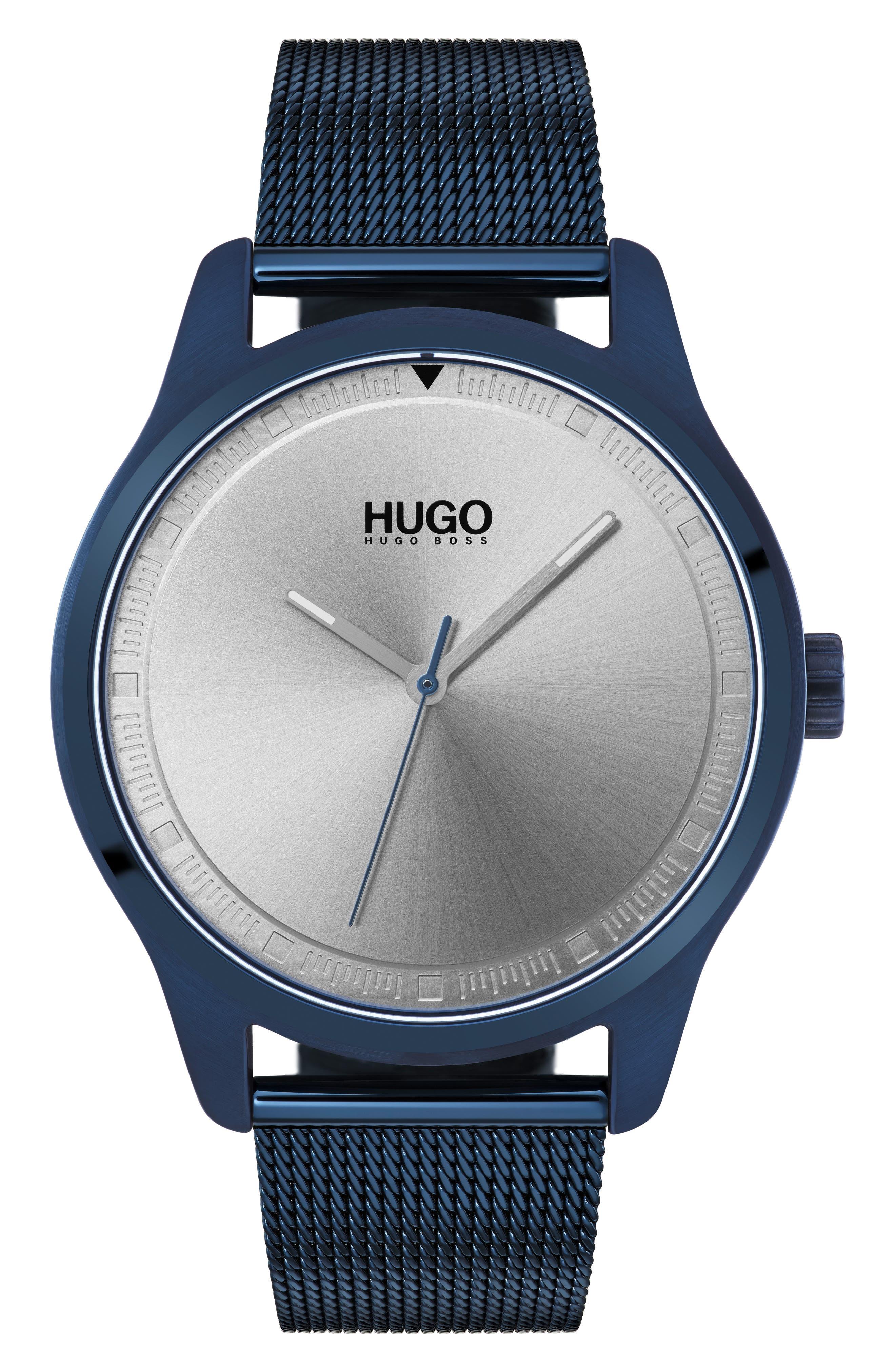 Mesh Bracelet Watch, 42mm,                             Main thumbnail 1, color,                             BLUE/SILVER