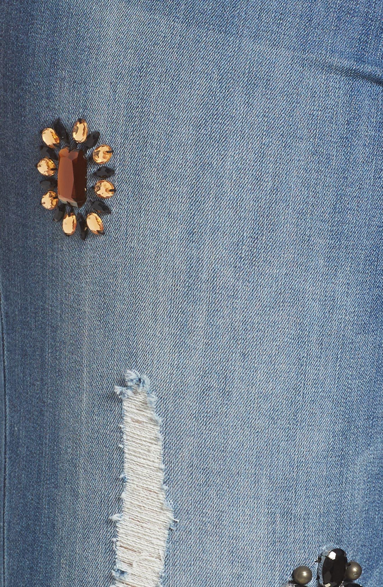Jeweled Skinny Jeans,                             Alternate thumbnail 5, color,                             450