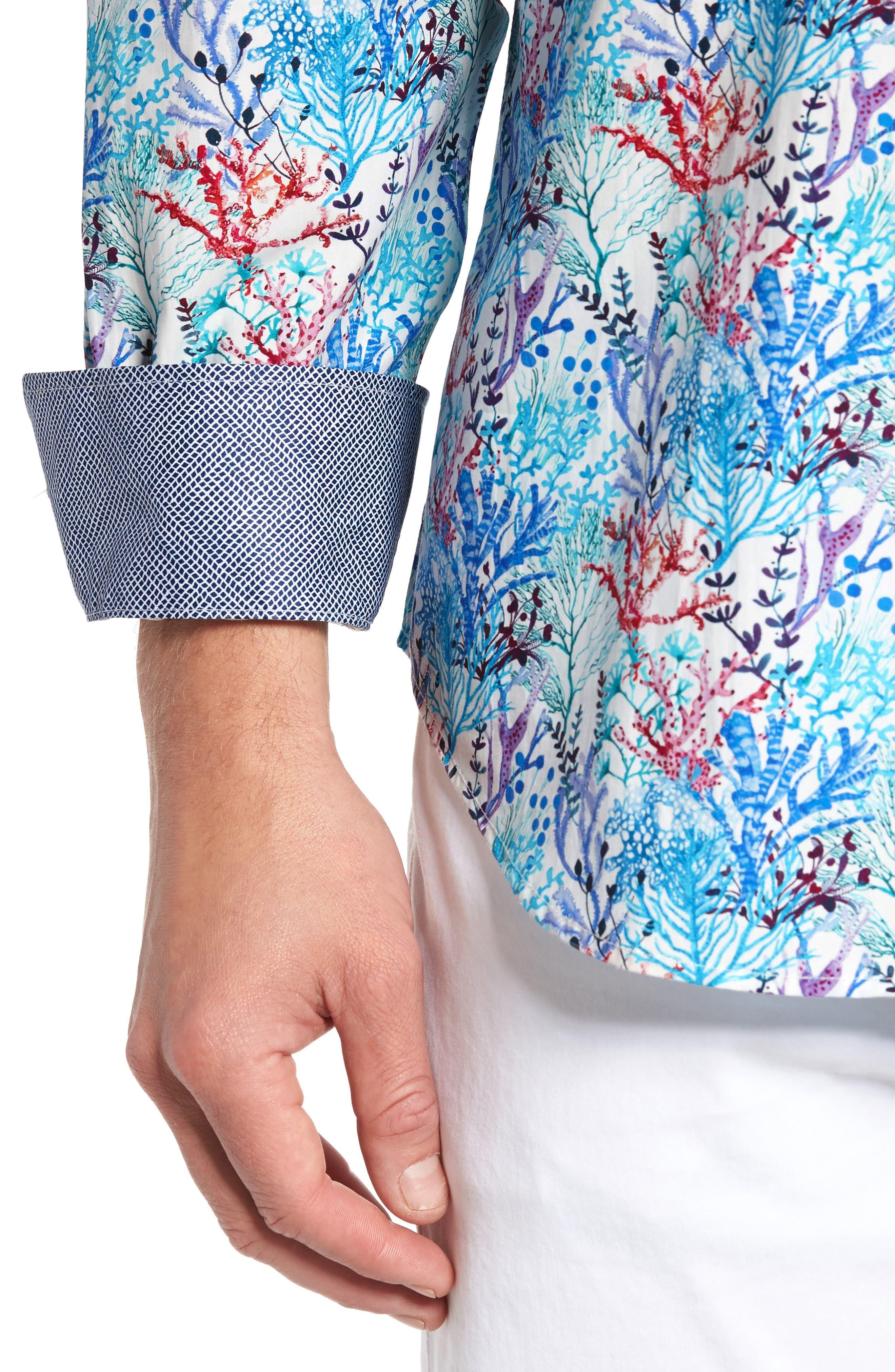 BUGATCHI,                             Classic Fit Floral Print Sport Shirt,                             Alternate thumbnail 4, color,                             425