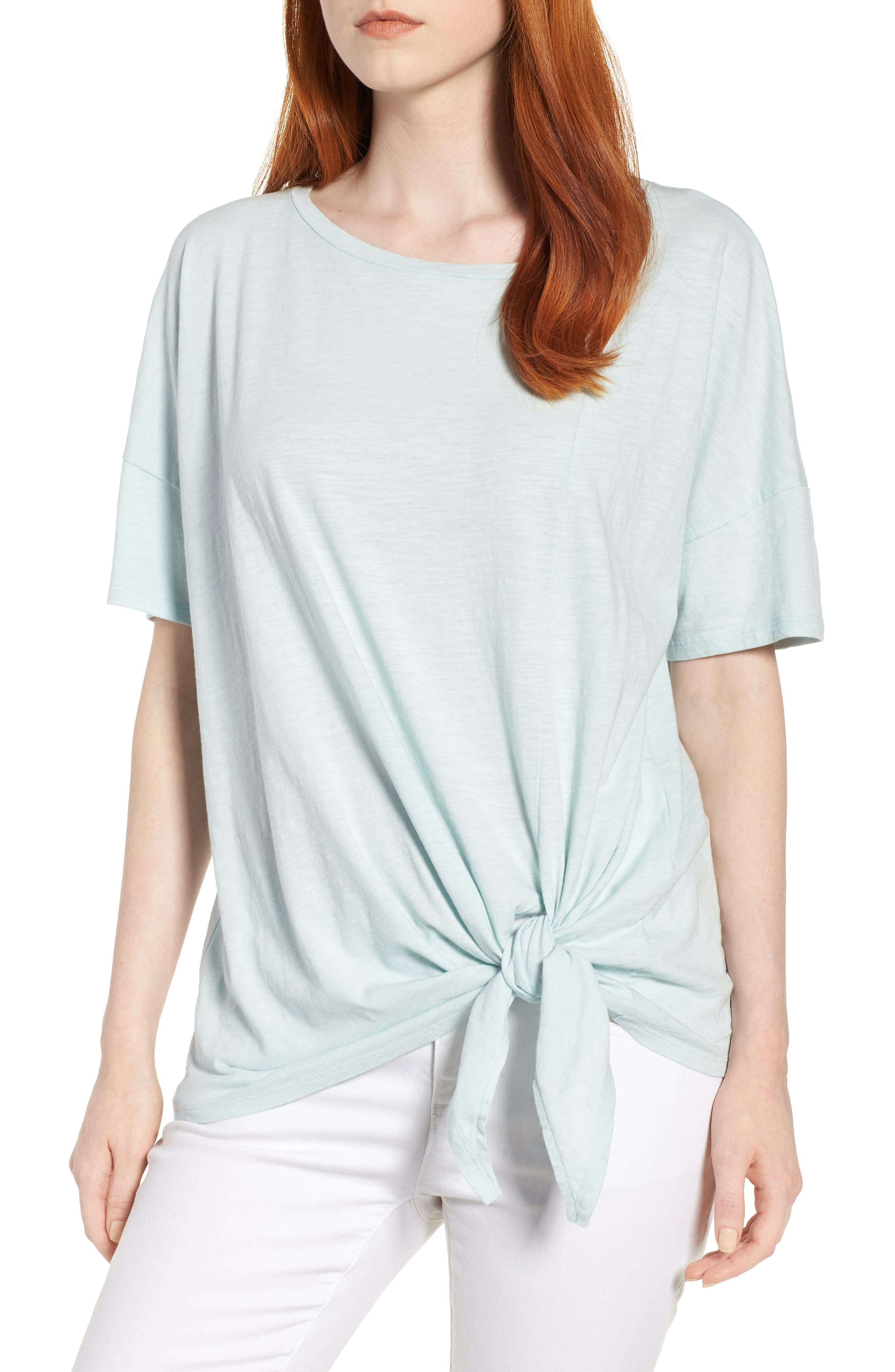 Tie Hem Organic Cotton Tee,                             Main thumbnail 3, color,