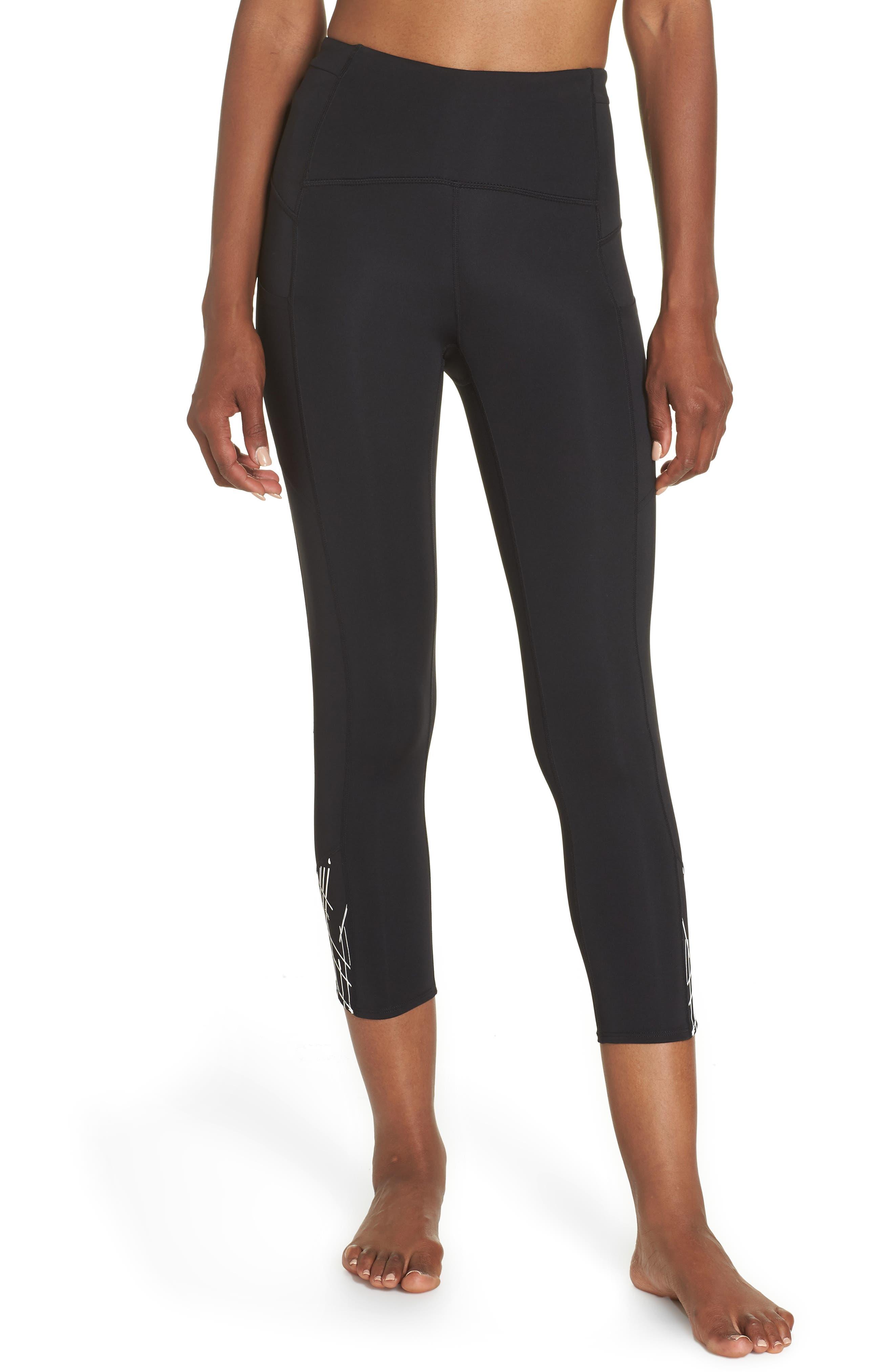High Waist Run Sprint In Crop Leggings,                         Main,                         color, BLACK