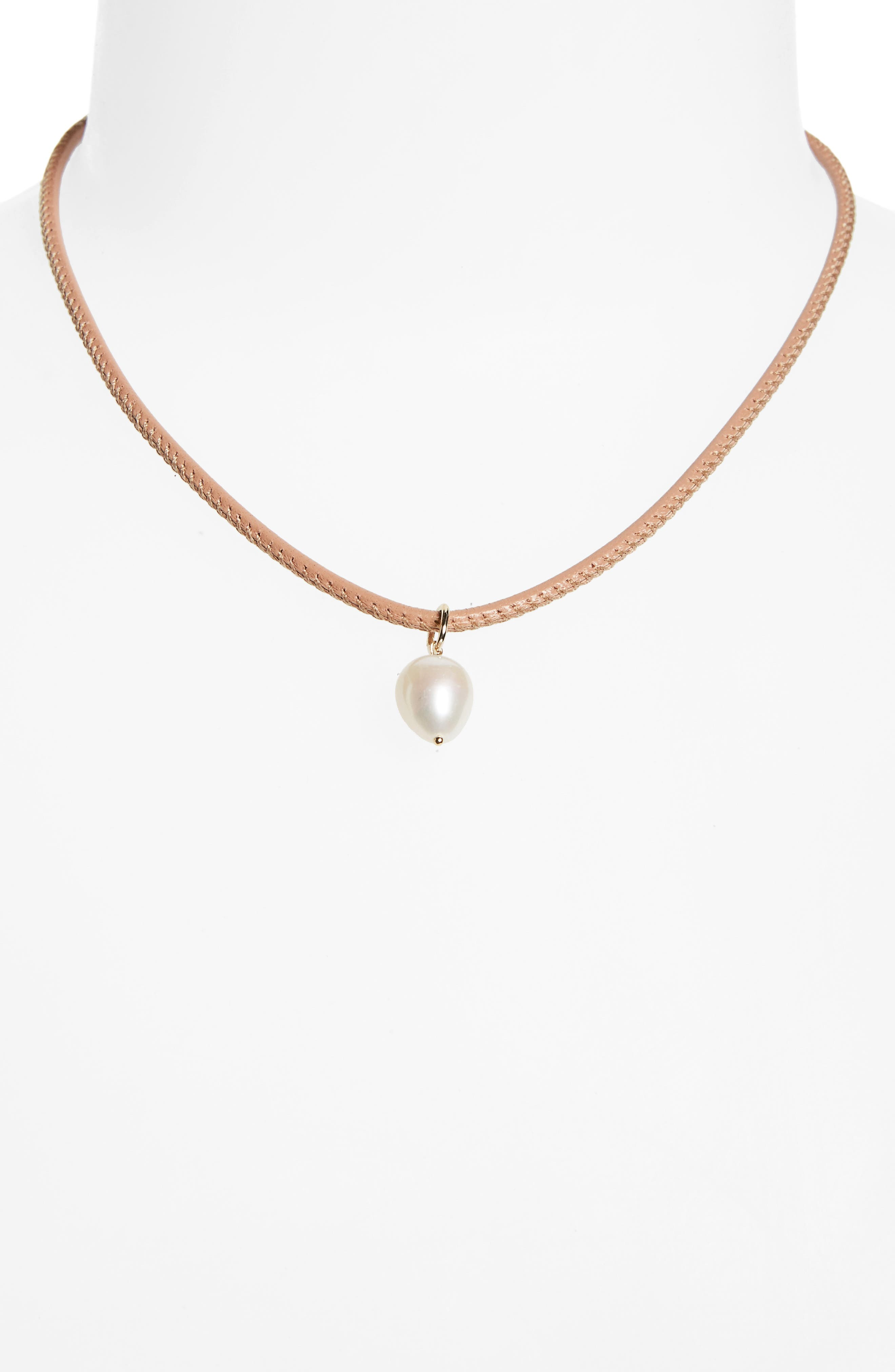Leather & Pearl Choker,                         Main,                         color, NEUTRAL LEATHER/ WHITE PEARL
