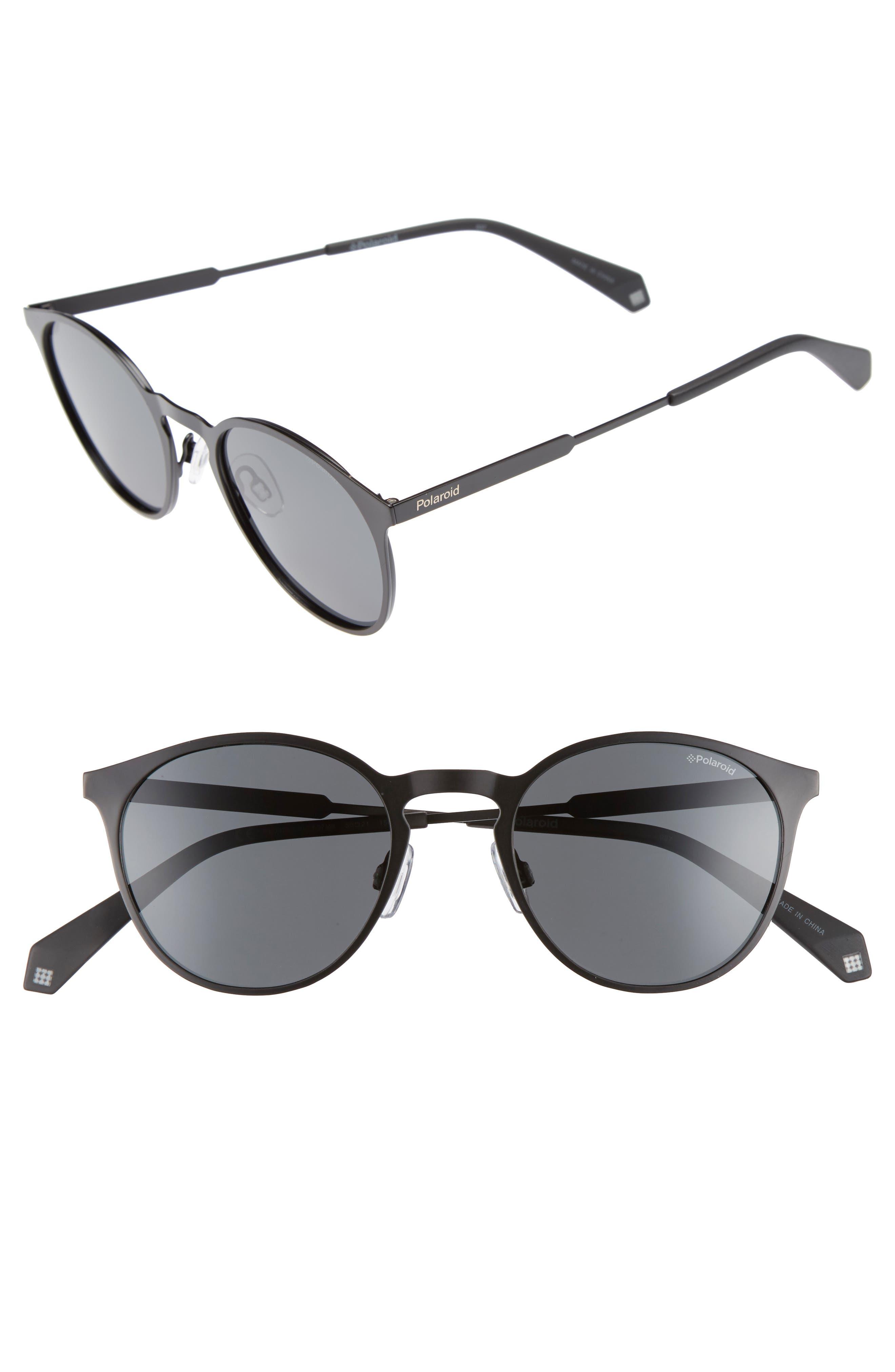 POLAROID EYEWEAR,                             Polaroid 50mm Round Polarized Sunglasses,                             Main thumbnail 1, color,                             002