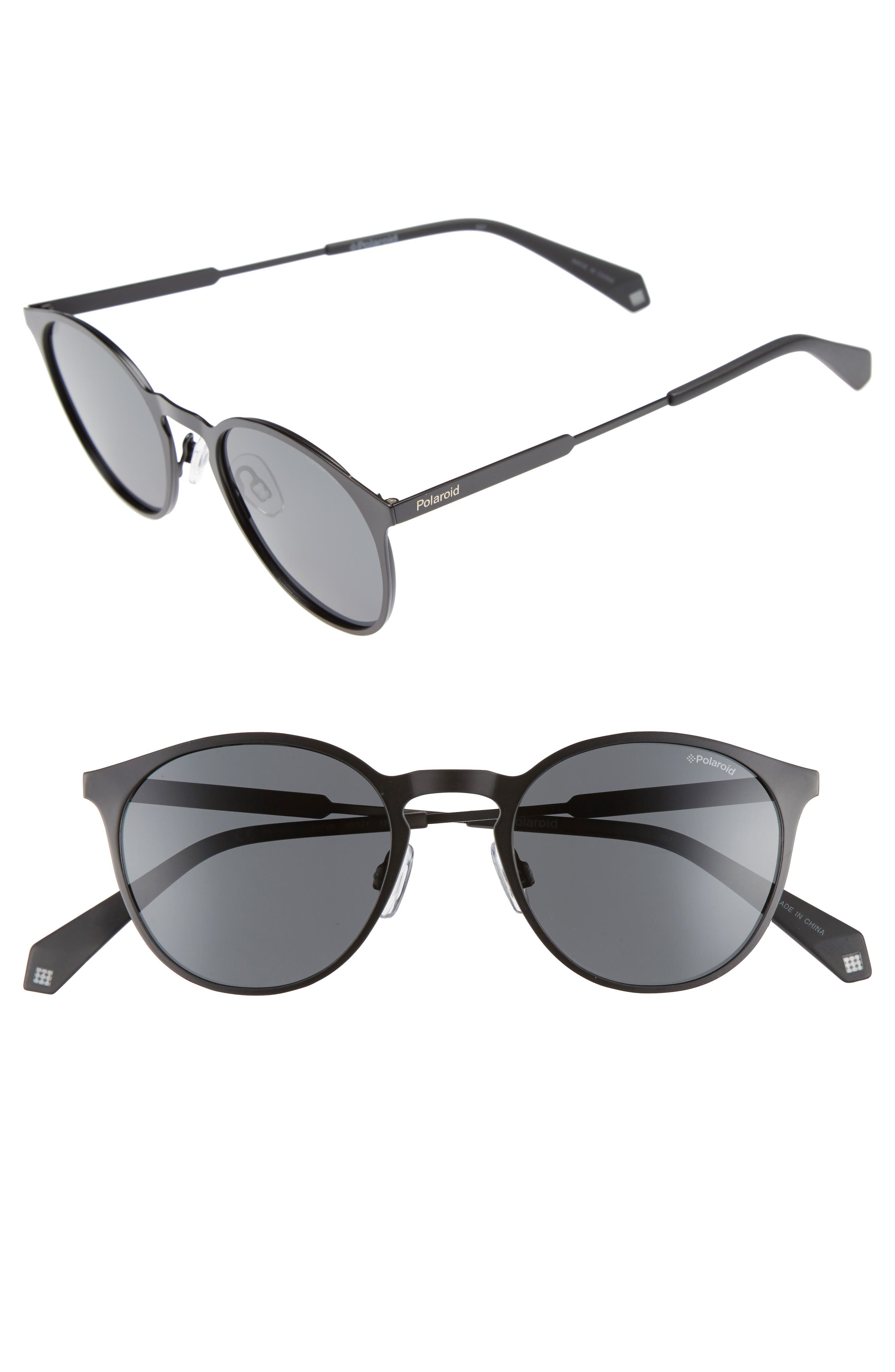 POLAROID EYEWEAR Polaroid 50mm Round Polarized Sunglasses, Main, color, 002