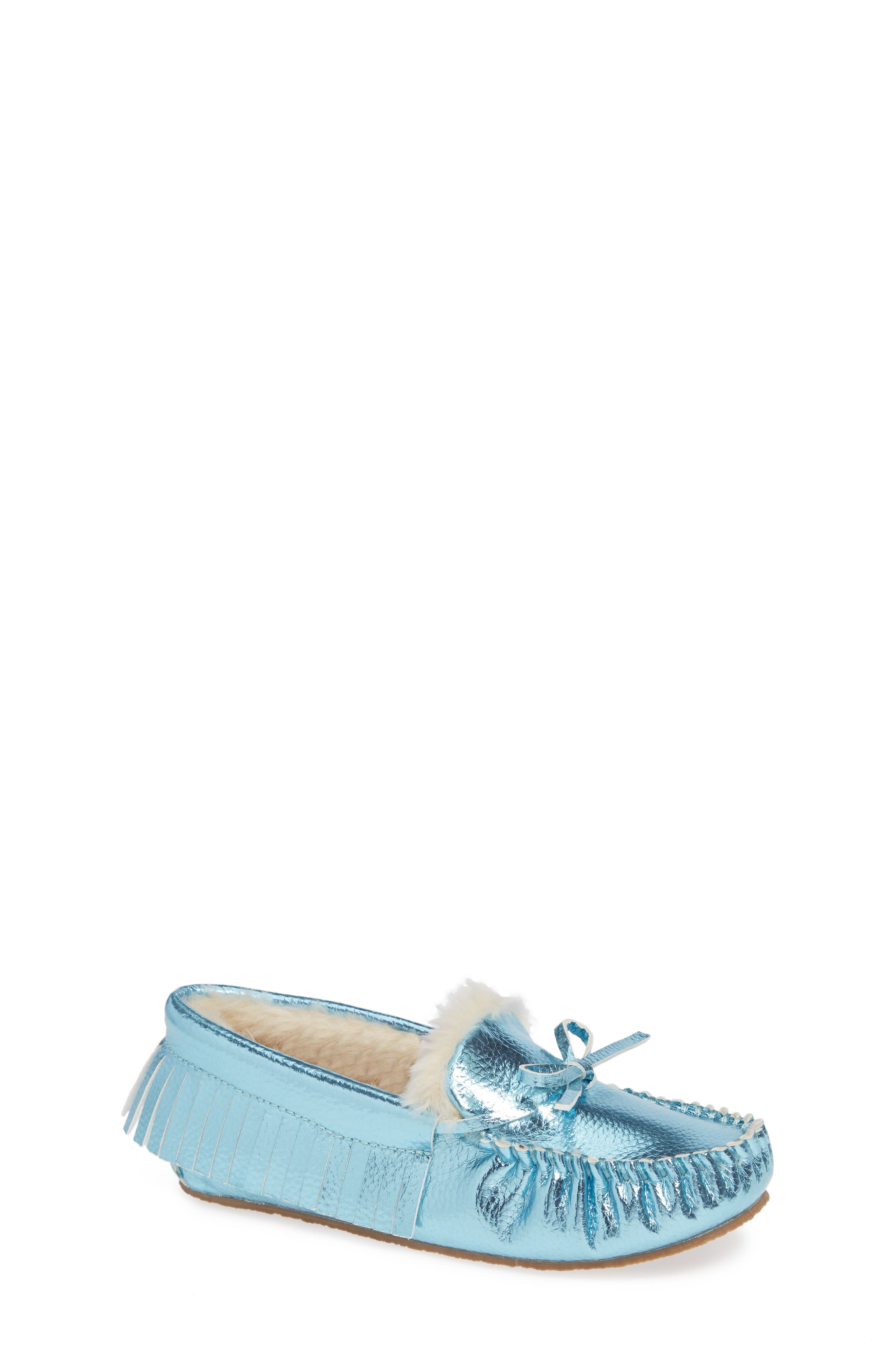 CREWCUTS BY J.CREW Metallic Moccasin, Main, color, FADED SKY