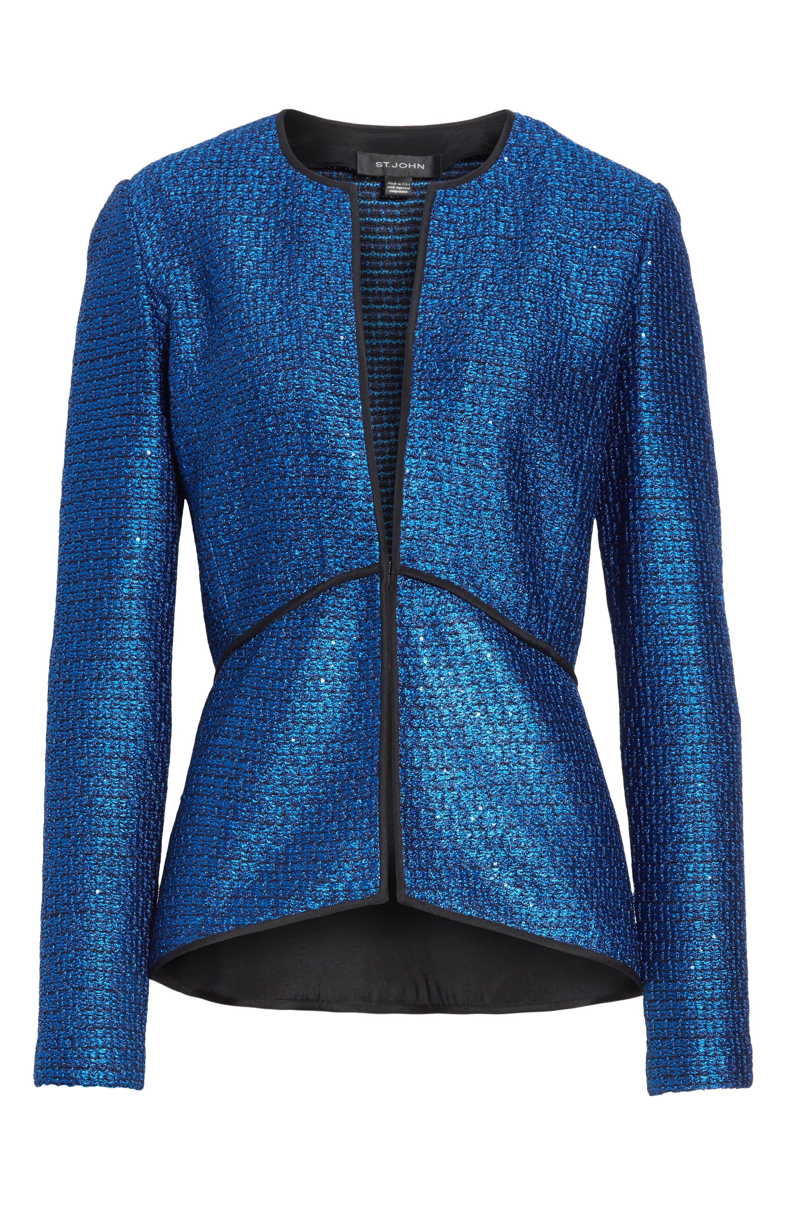 Luster Sequin Knit Jacket,                             Alternate thumbnail 6, color,                             COBALT MULTI