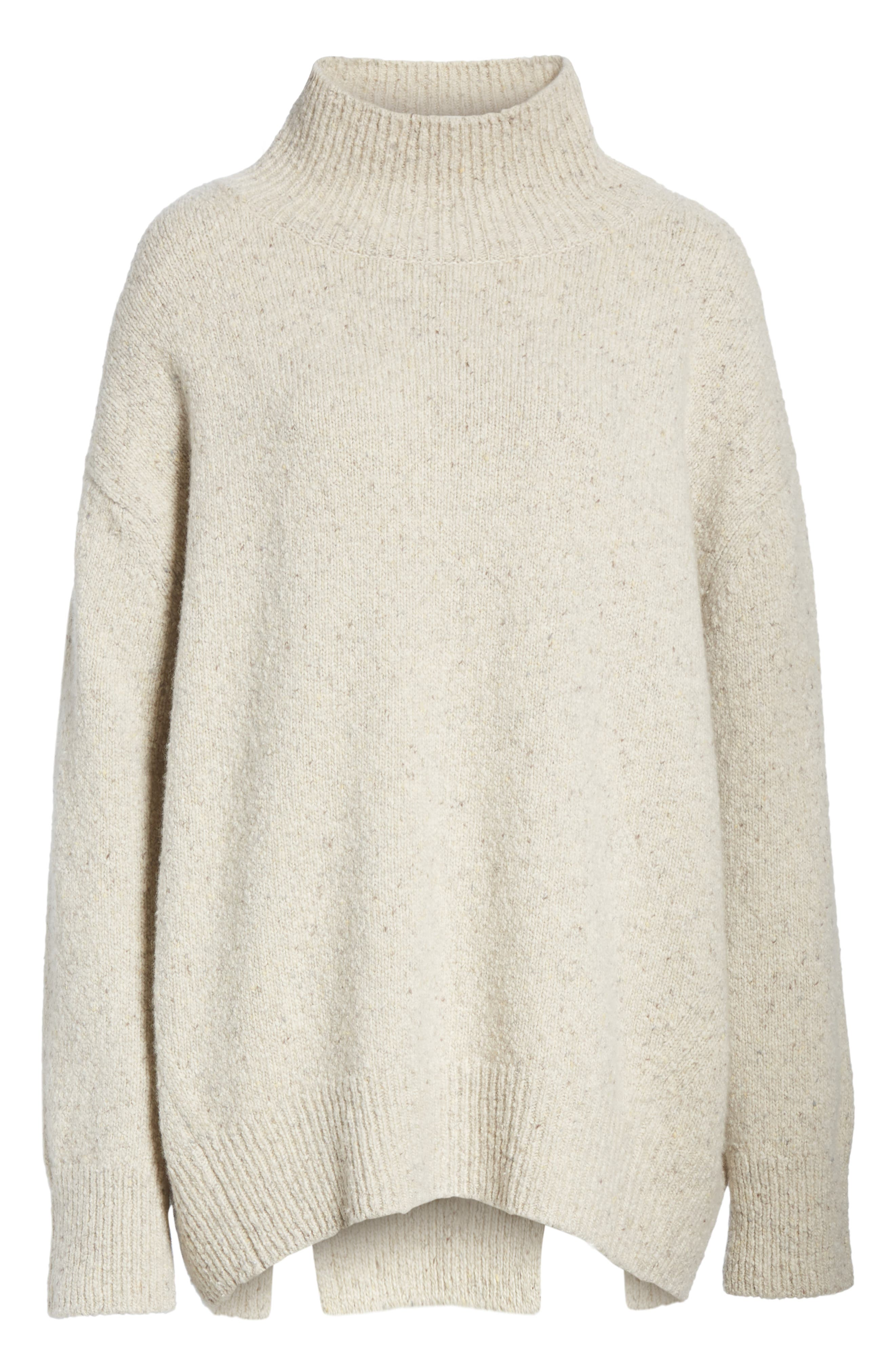 Oversize Cashmere Sweater,                             Alternate thumbnail 6, color,                             BUTTERMILK