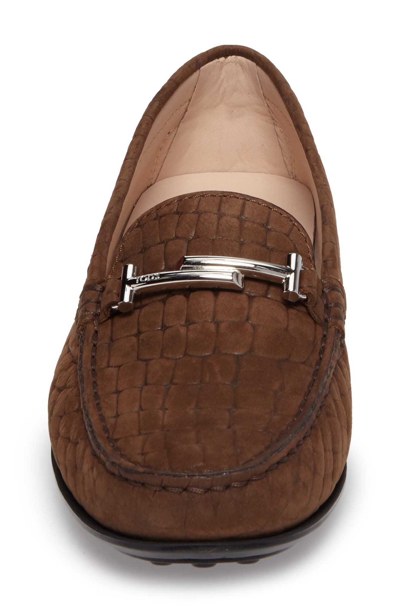 Tods Croc Embossed Double T Loafer,                             Alternate thumbnail 4, color,                             249