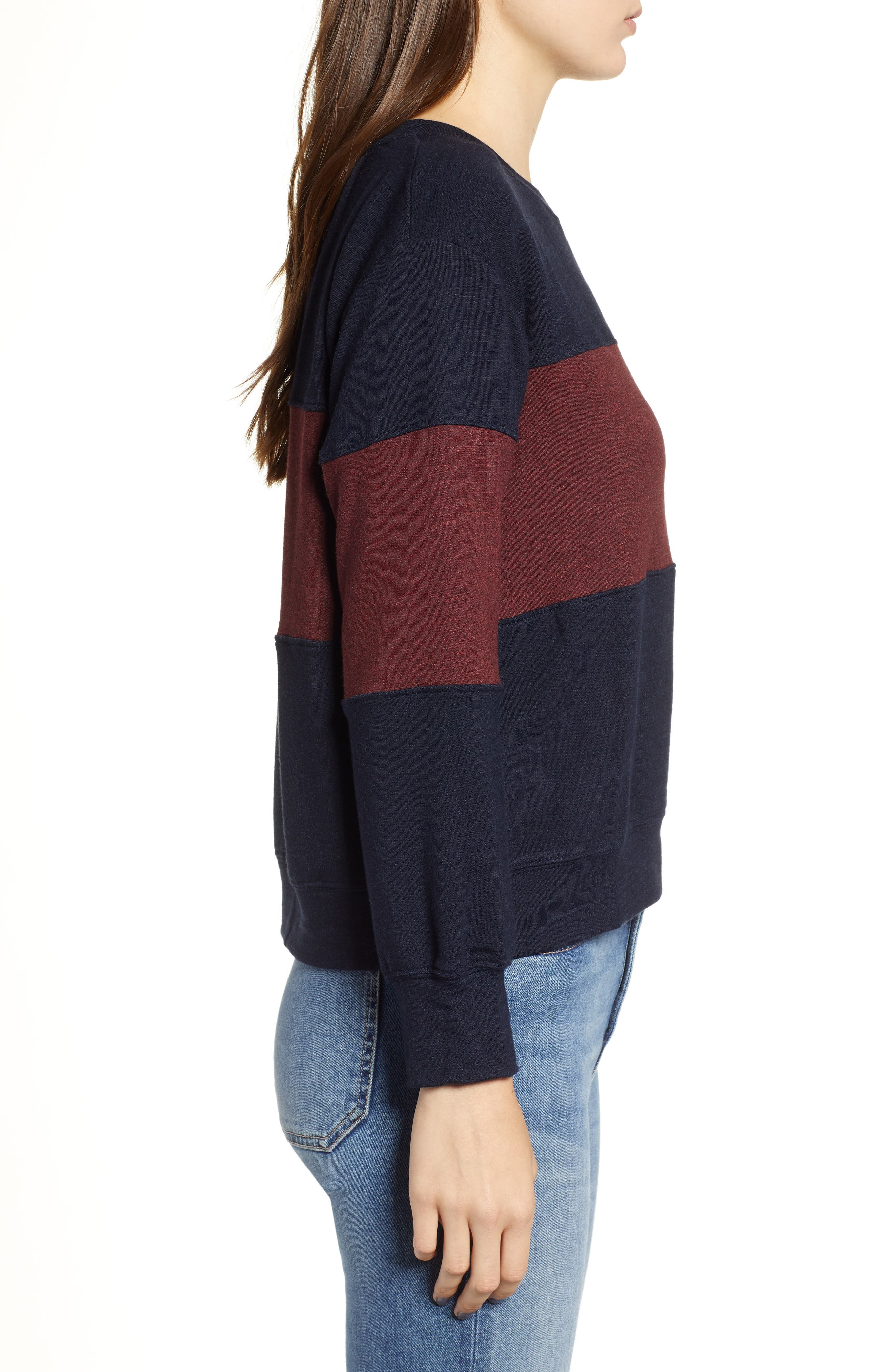 Colorblock Crop Sweatshirt,                             Alternate thumbnail 3, color,                             MIDNIGHT/ MARSALA