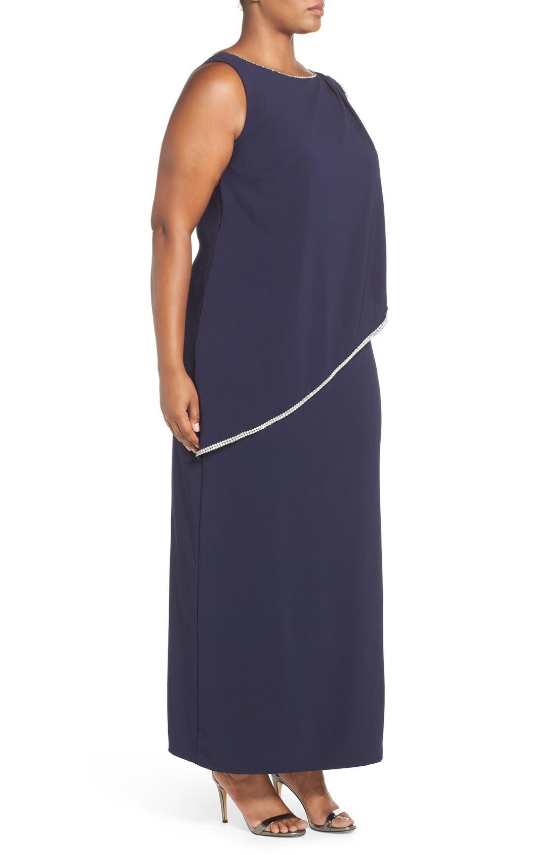 Embellished Overlay Sleeveless Crepe Column Gown,                             Alternate thumbnail 5, color,
