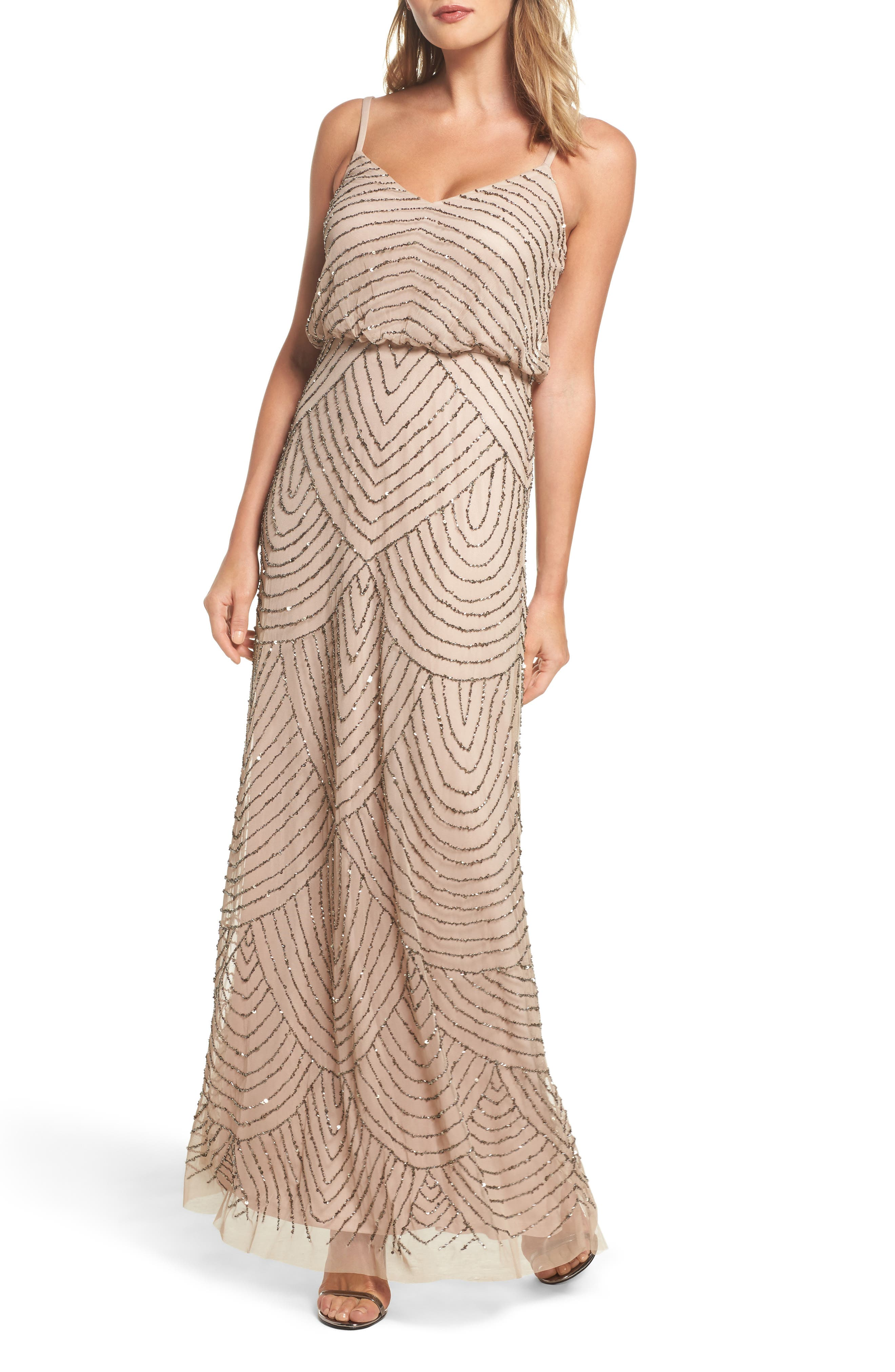 Embellished Blouson Gown,                             Alternate thumbnail 5, color,                             SILVER/ NUDE