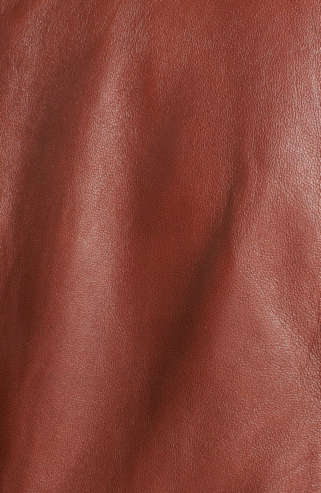 Waterfall Front Leather Jacket,                             Alternate thumbnail 6, color,