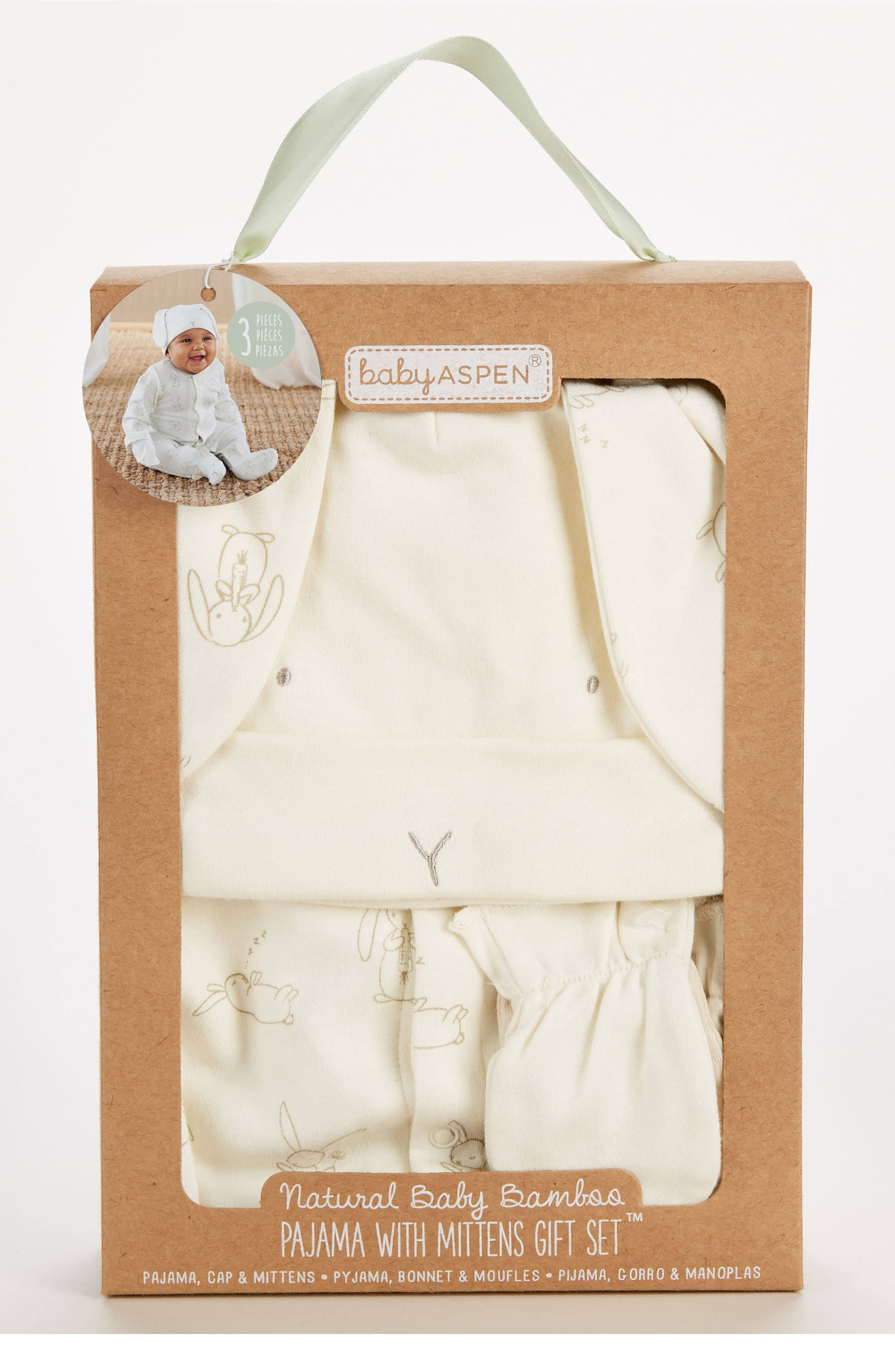 Nature Baby Footie, Hat & Mittens Set,                         Main,                         color, 280