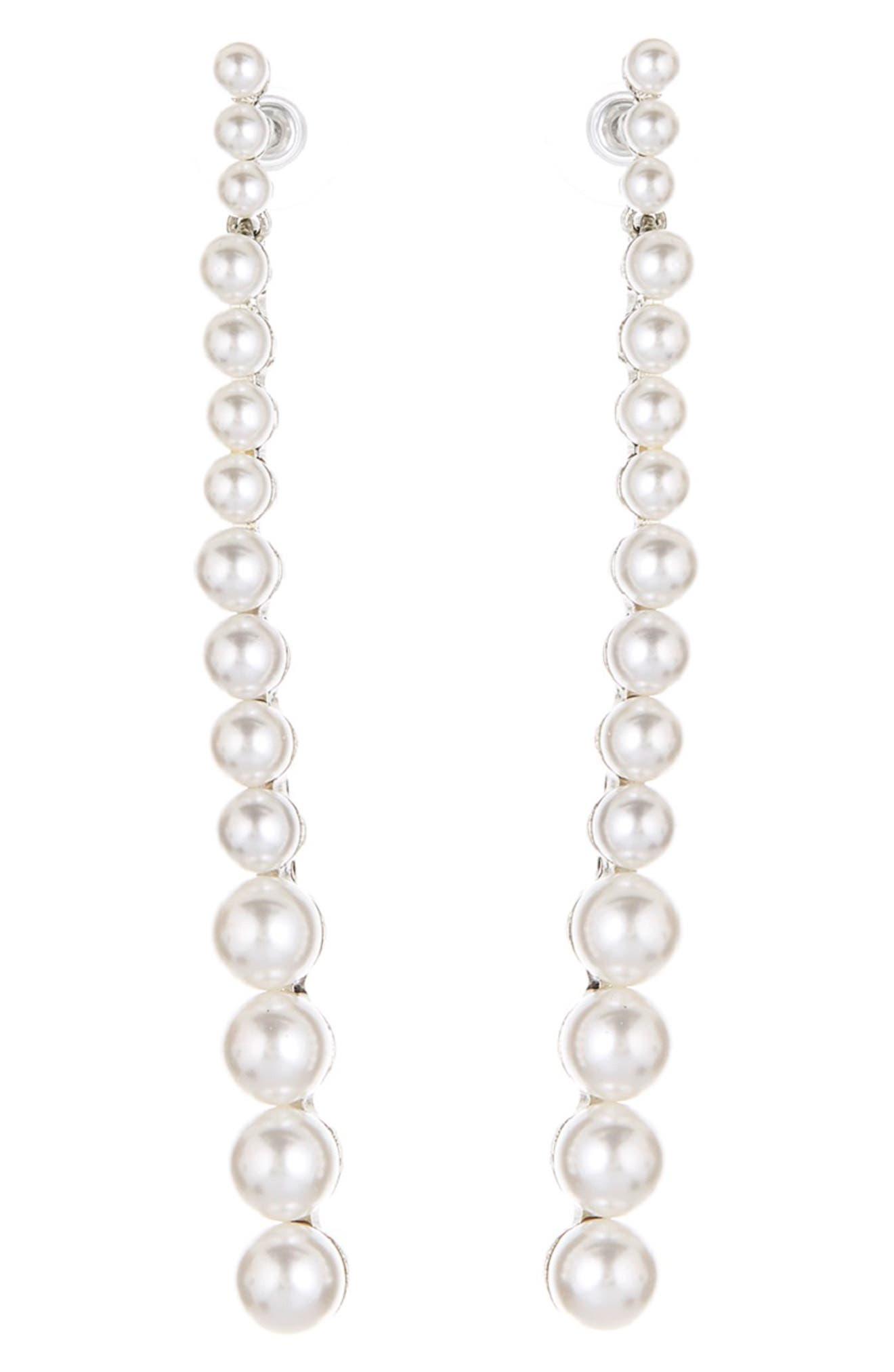 Imitation Pearl Linear Earrings,                         Main,                         color, SILVER