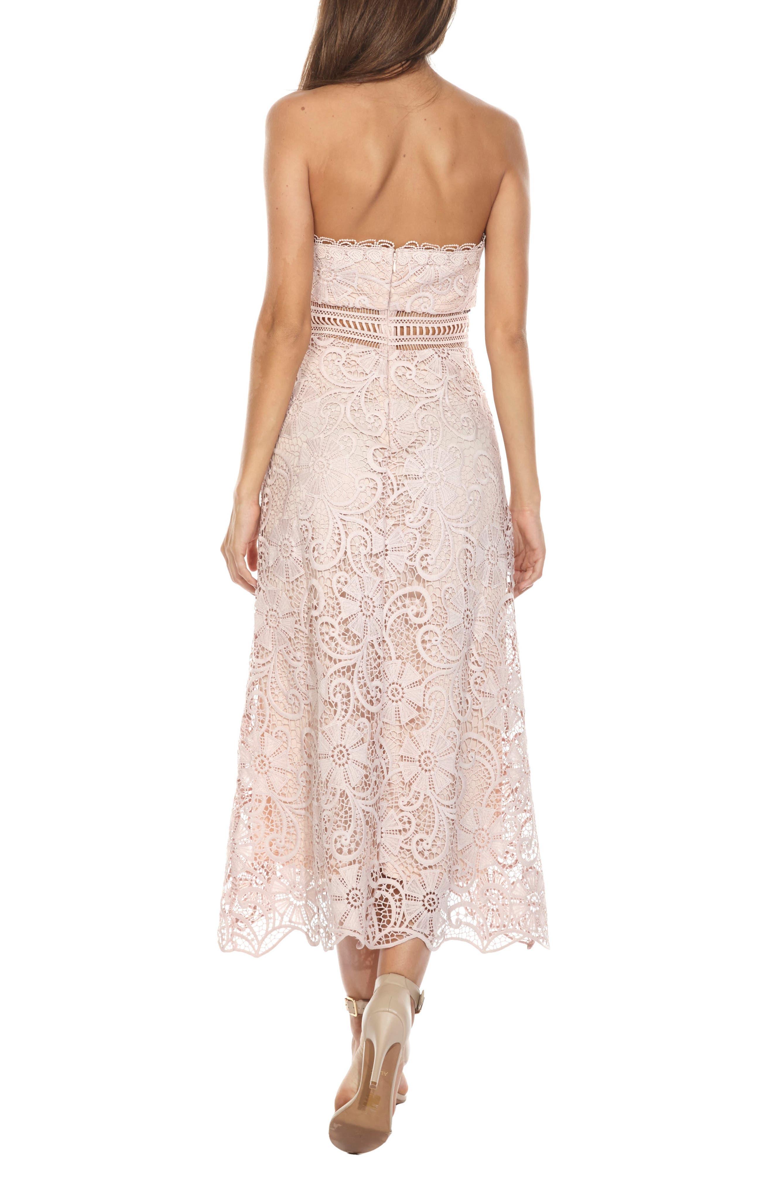 Yani Lace Strapless Midi Dress,                             Alternate thumbnail 2, color,                             PINK