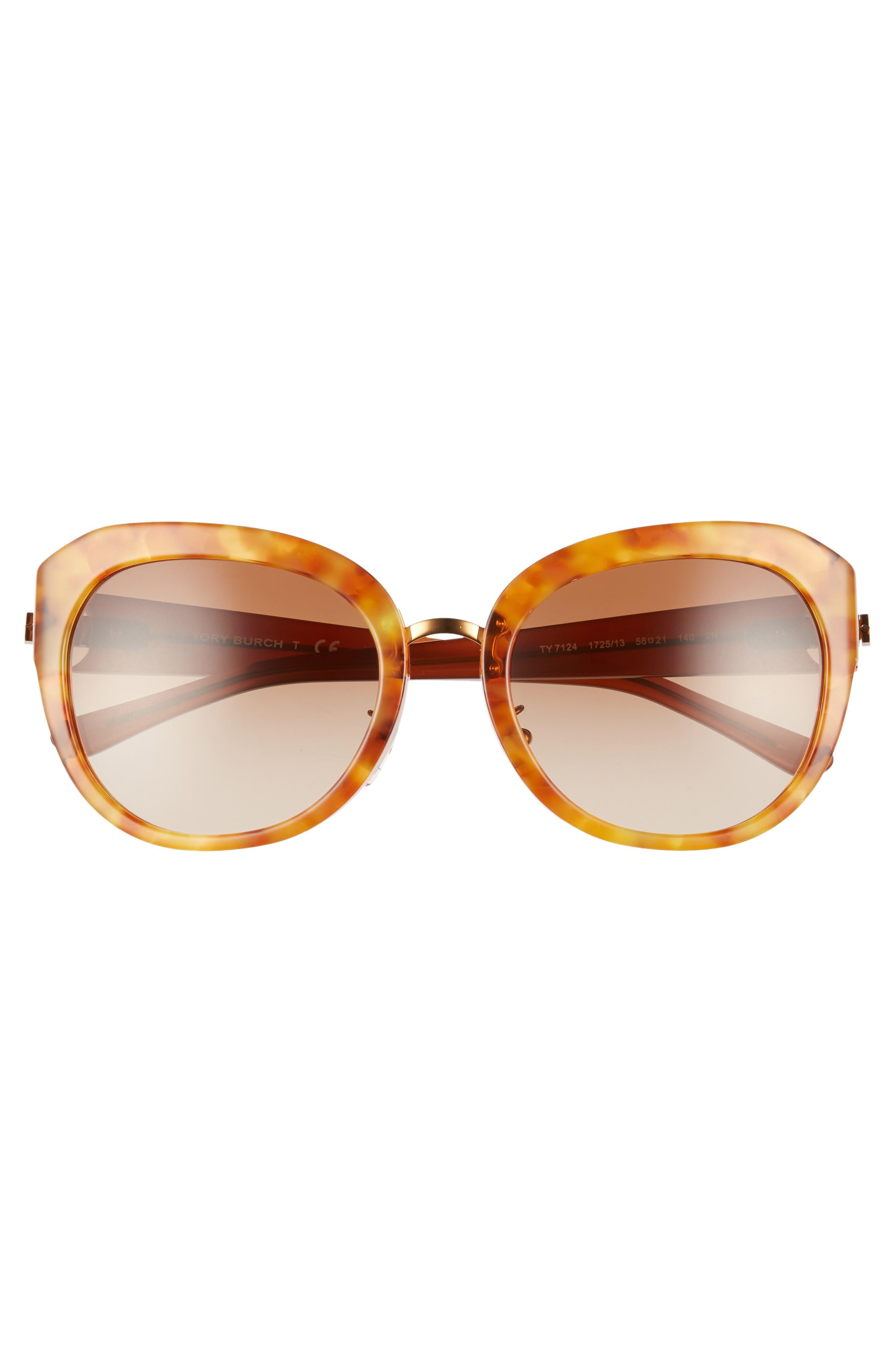 Irregular Reva 56mm Sunglasses,                             Alternate thumbnail 3, color,                             AMBER GRADIENT