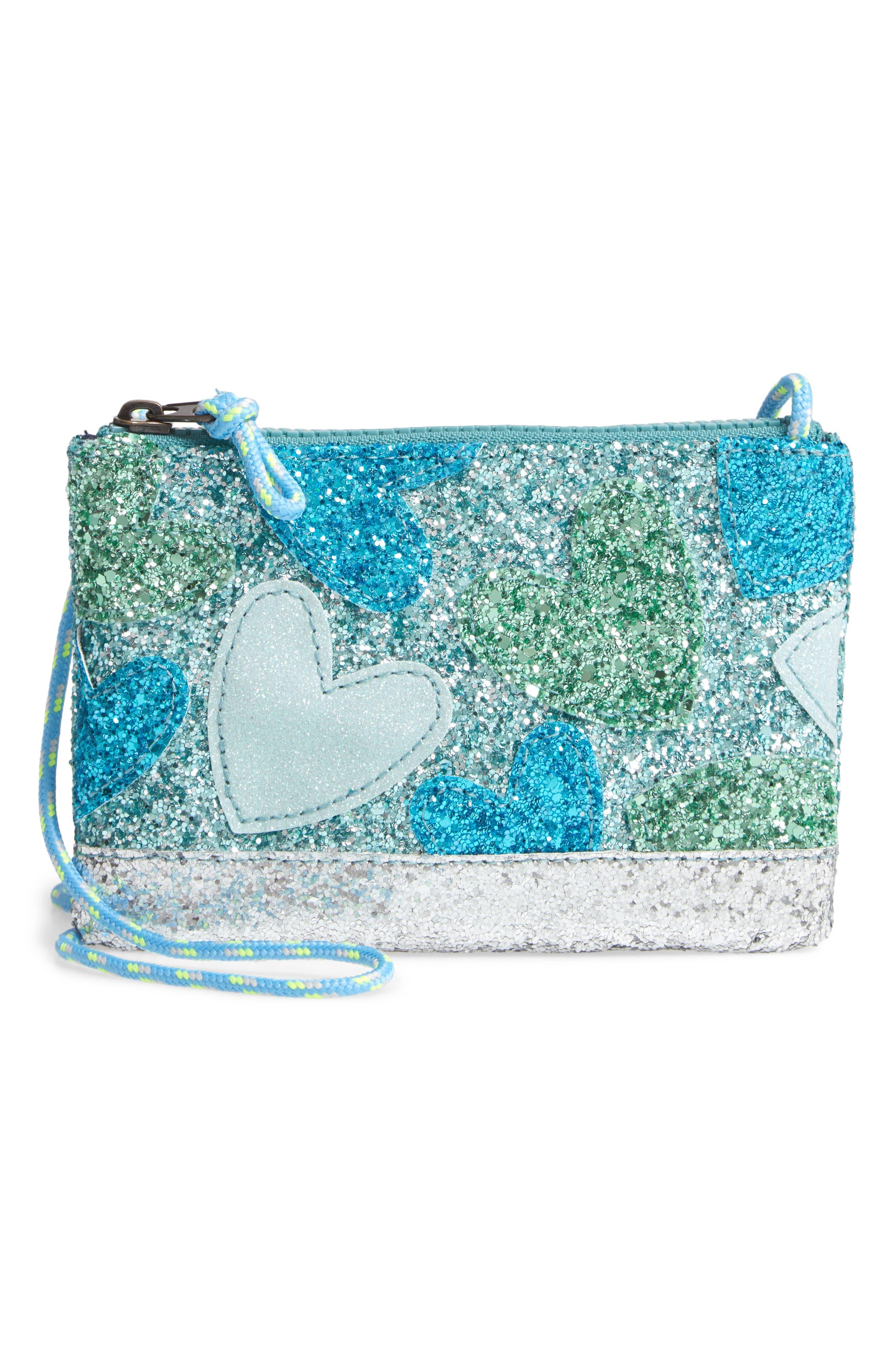 Girls Crewcuts By Jcrew Glitter Heart Crossbody Pouchette Bag