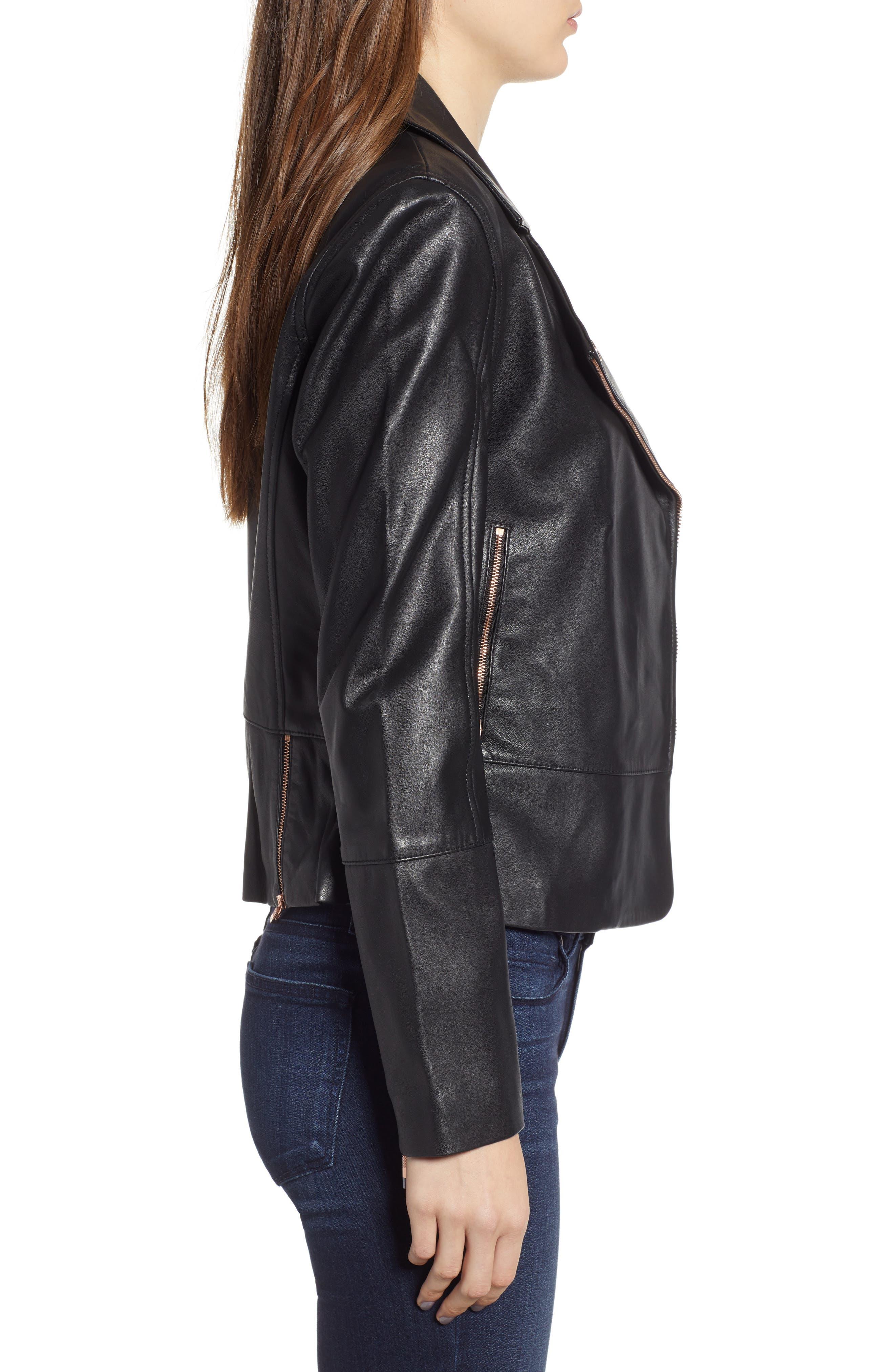 Lizia Minimal Biker Jacket,                             Alternate thumbnail 3, color,                             BLACK