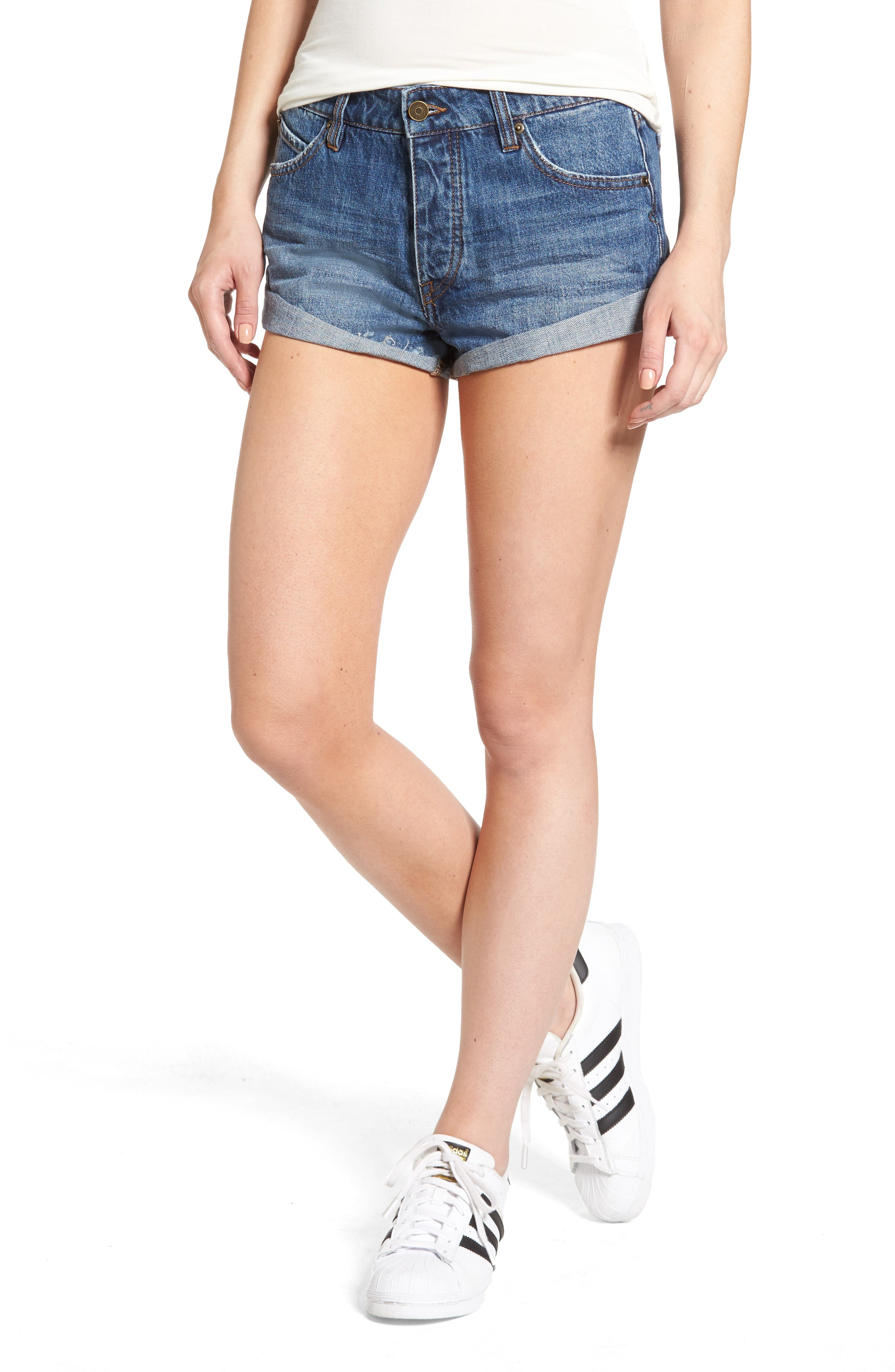 Rolled Denim Shorts,                         Main,                         color, 409
