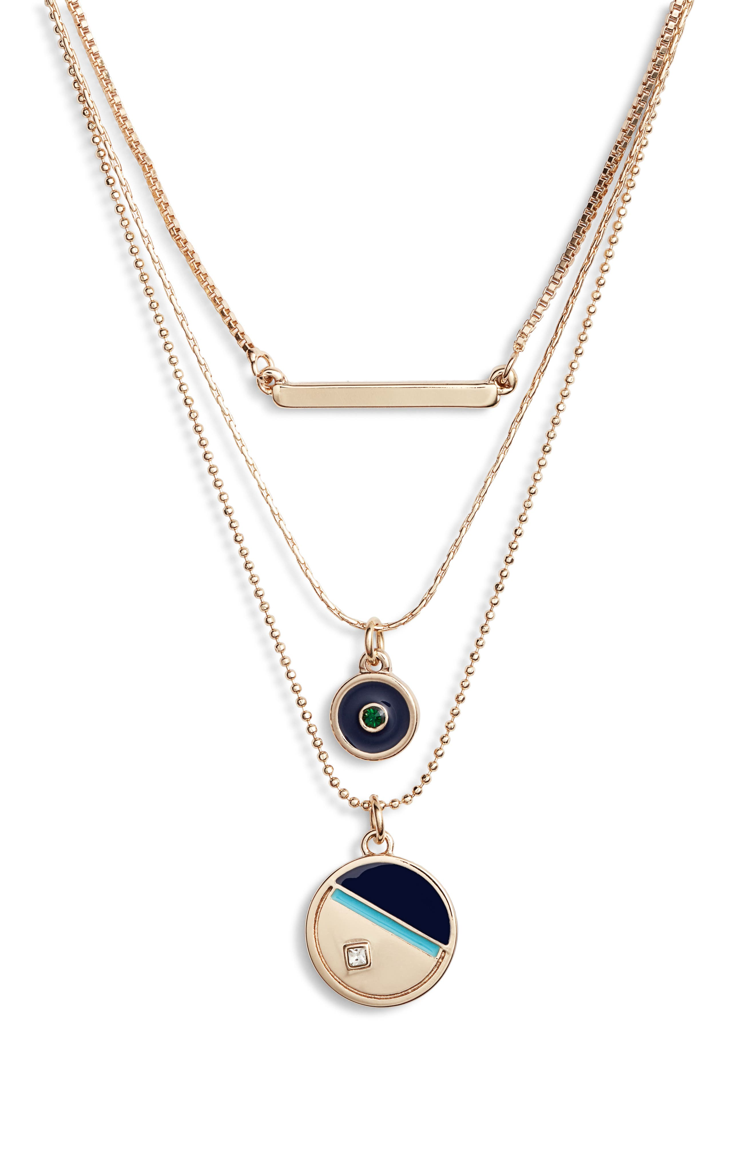 3-Tier Disc Necklace,                             Main thumbnail 1, color,                             TURQUOISE- NAVY- GOLD