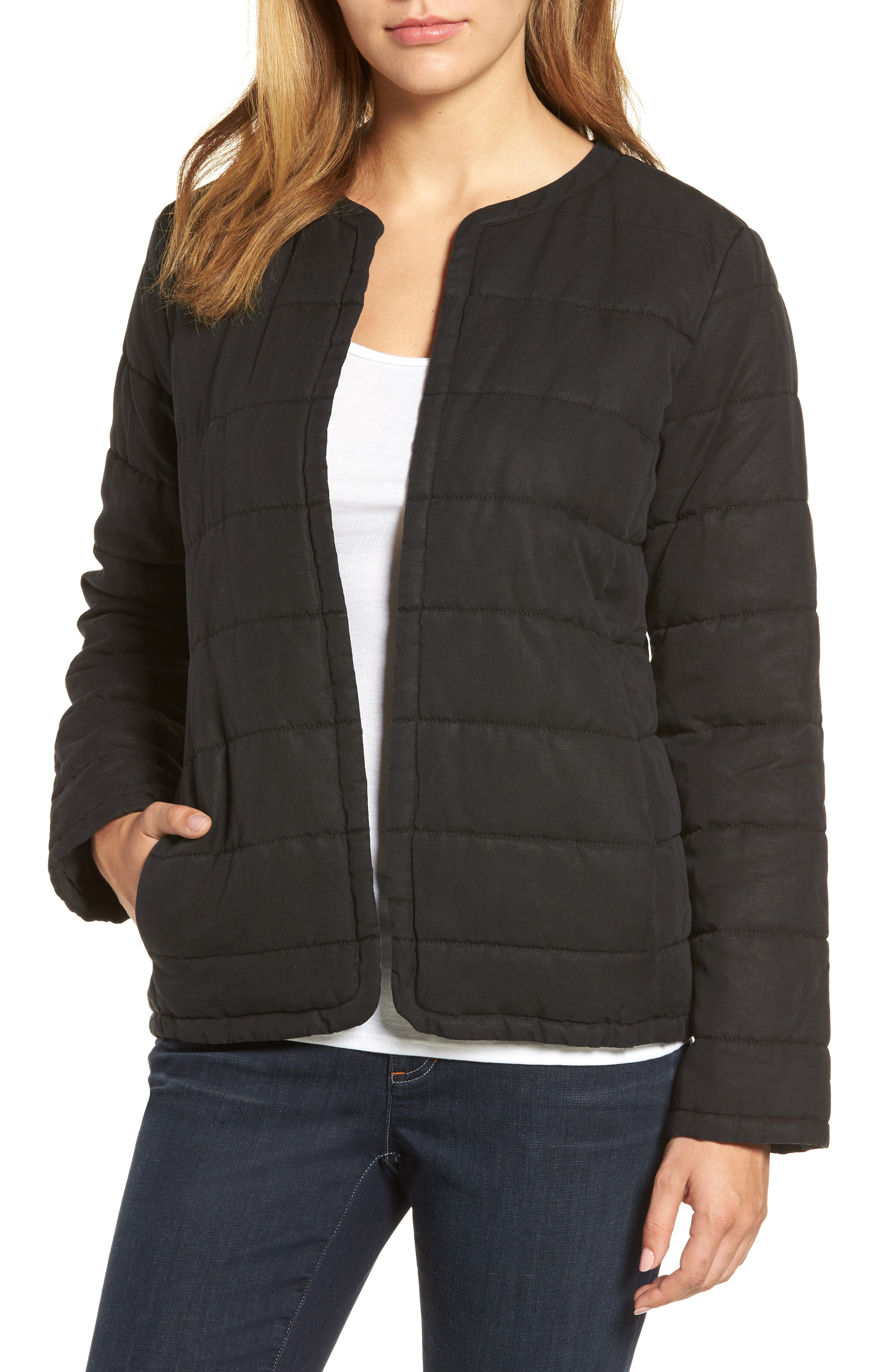 Collarless Quilted Jacket,                             Main thumbnail 1, color,                             001